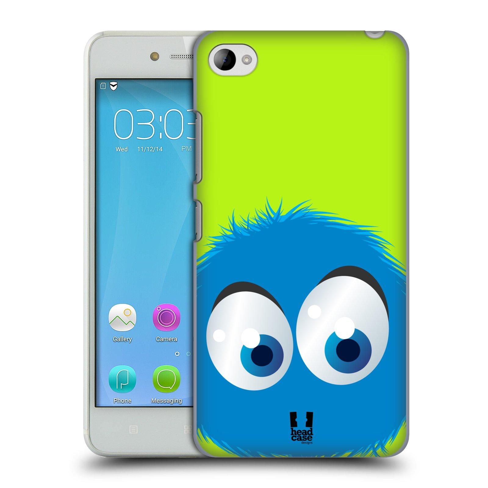HEAD CASE pevný plastový obal na mobil LENOVO S90 vzor Barevný chlupatý smajlík MODRÁ zelené pozadí