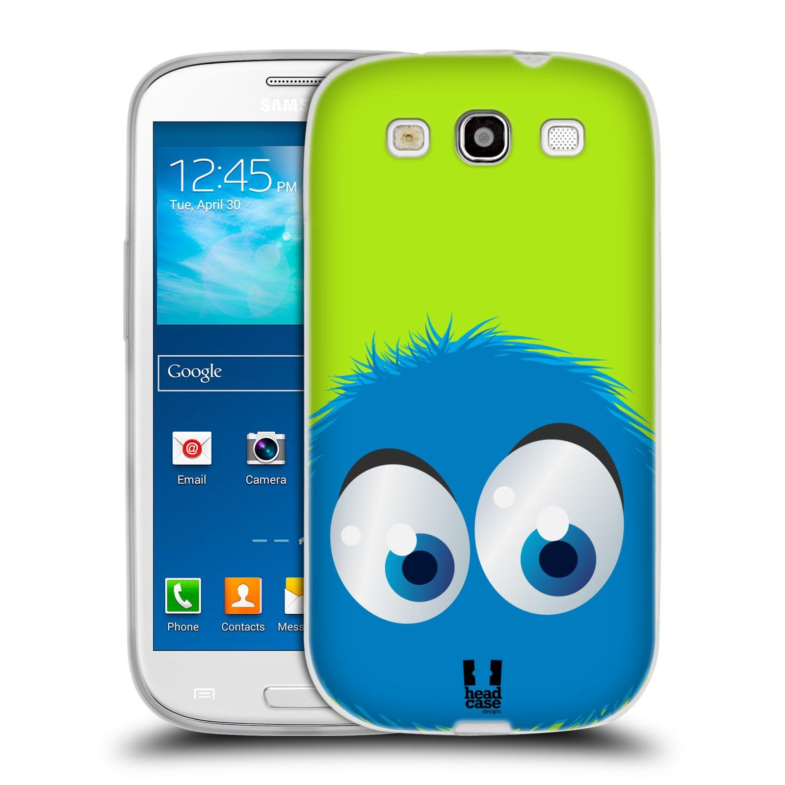 HEAD CASE silikonový obal na mobil Samsung Galaxy S3 i9300 vzor Barevný chlupatý smajlík MODRÁ zelené pozadí