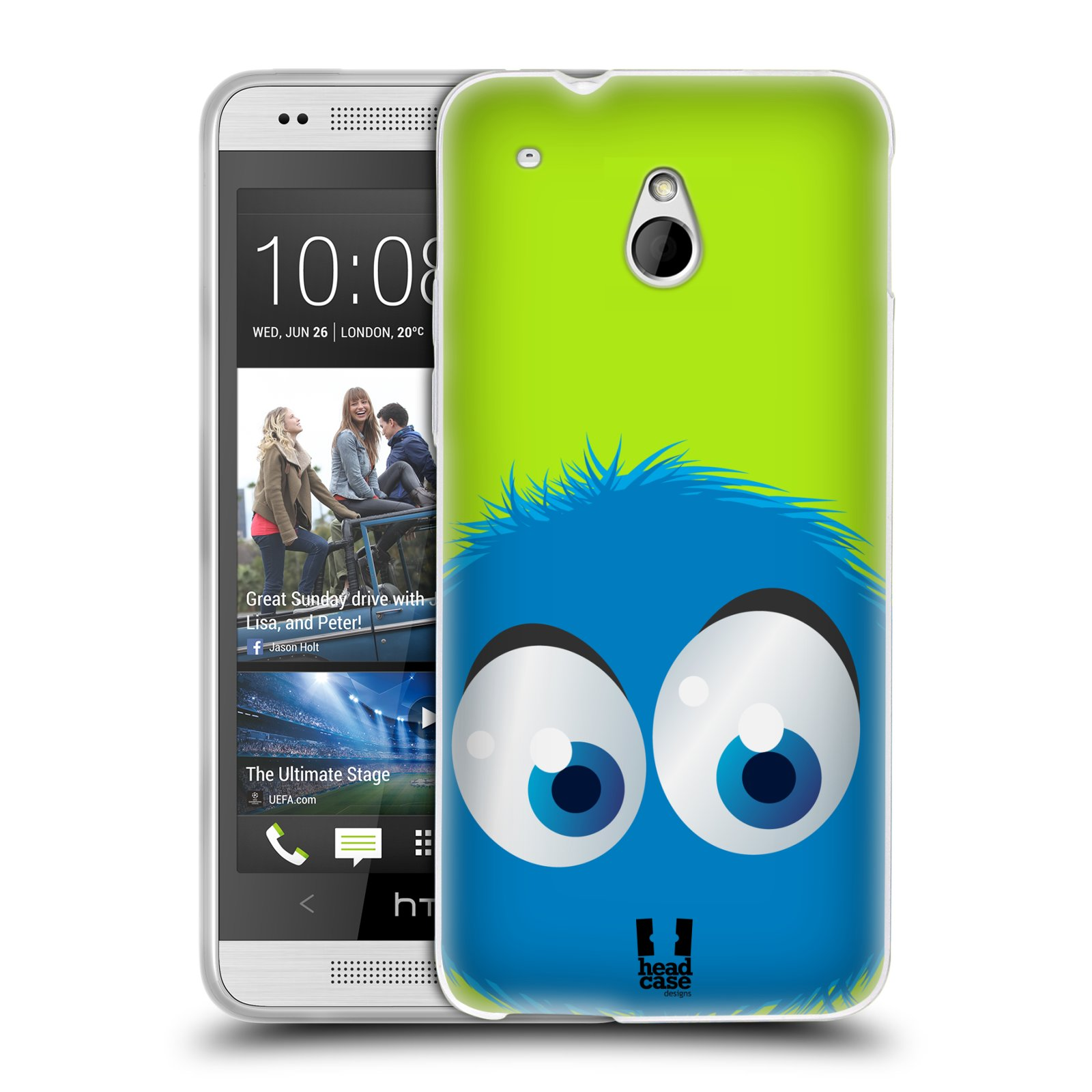HEAD CASE silikonový obal na mobil HTC ONE MINI (M4) vzor Barevný chlupatý smajlík MODRÁ zelené pozadí
