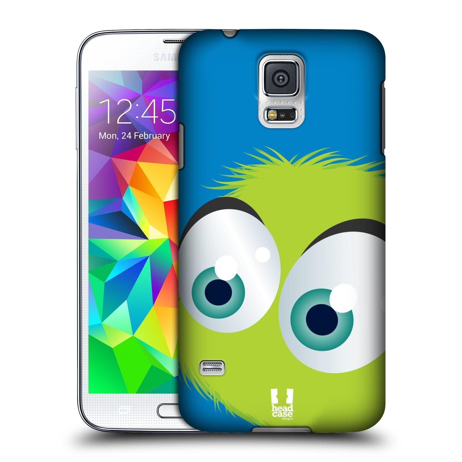 HEAD CASE plastový obal na mobil SAMSUNG Galaxy SS / S5 NEO (G900, G903F) vzor Barevný chlupatý smajlík ZELENÁ modré pozadí