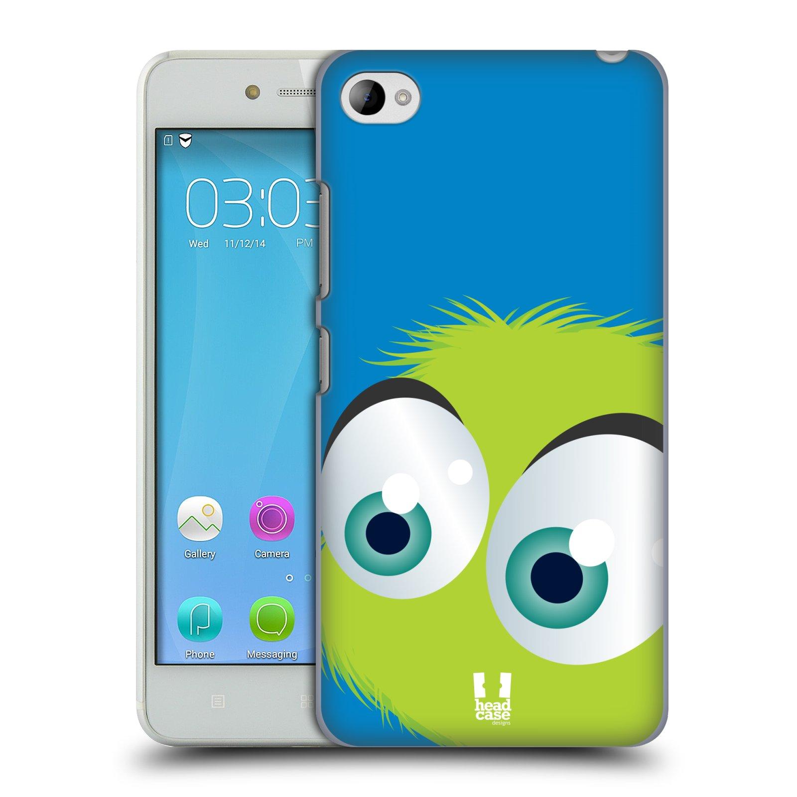 HEAD CASE pevný plastový obal na mobil LENOVO S90 vzor Barevný chlupatý smajlík ZELENÁ modré pozadí