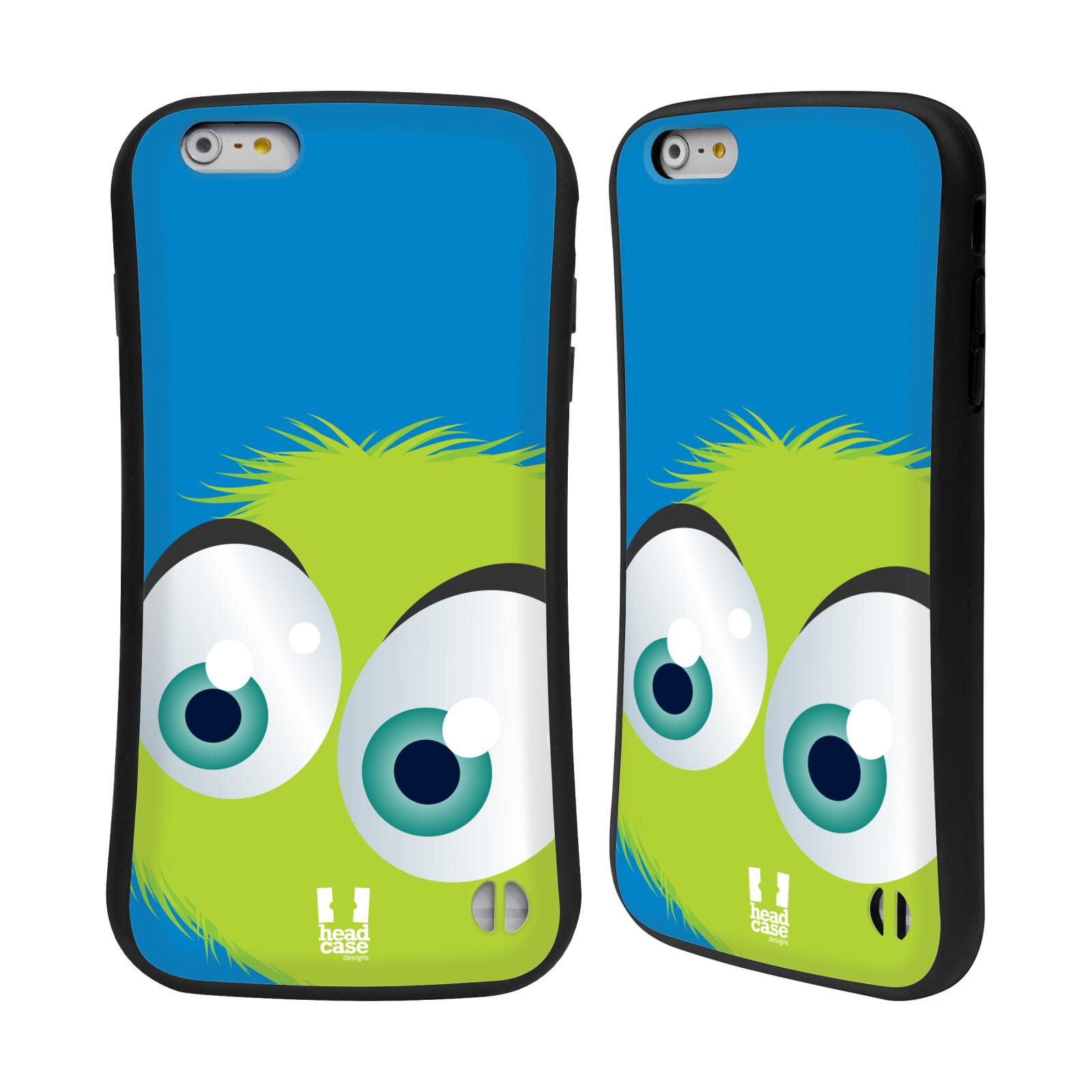 HEAD CASE silikon/plast odolný obal na mobil Apple Iphone 6 PLUS / 6S PLUS vzor Barevný chlupatý smajlík ZELENÁ modré pozadí