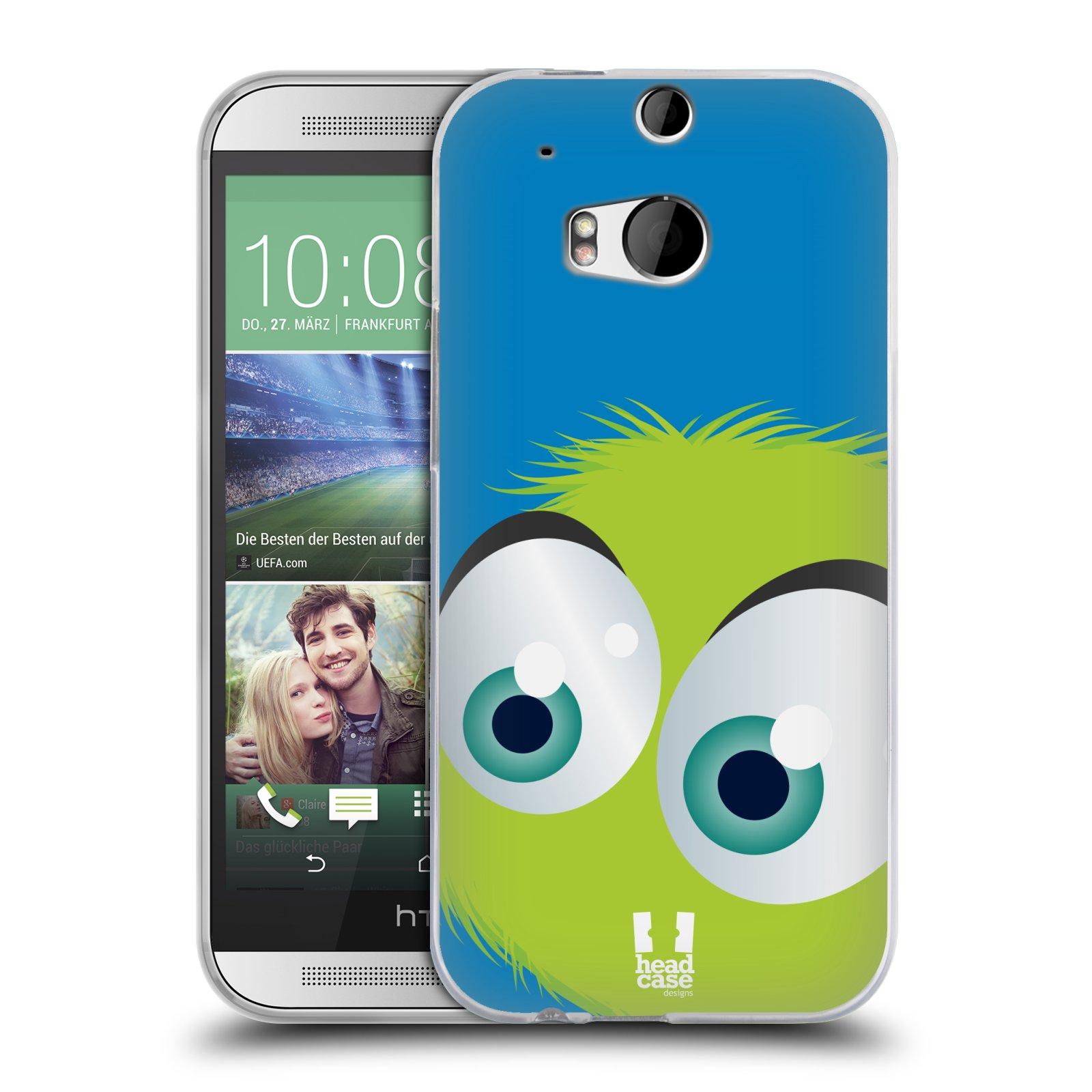 HEAD CASE silikonový obal na mobil HTC ONE (M8) vzor Barevný chlupatý smajlík ZELENÁ modré pozadí