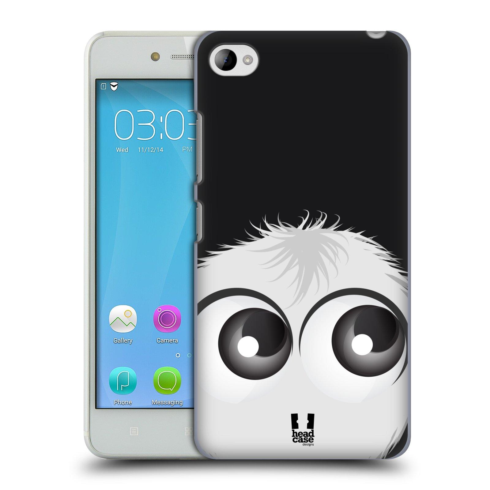HEAD CASE pevný plastový obal na mobil LENOVO S90 vzor Barevný chlupatý smajlík BÍLÁ černé pozadí