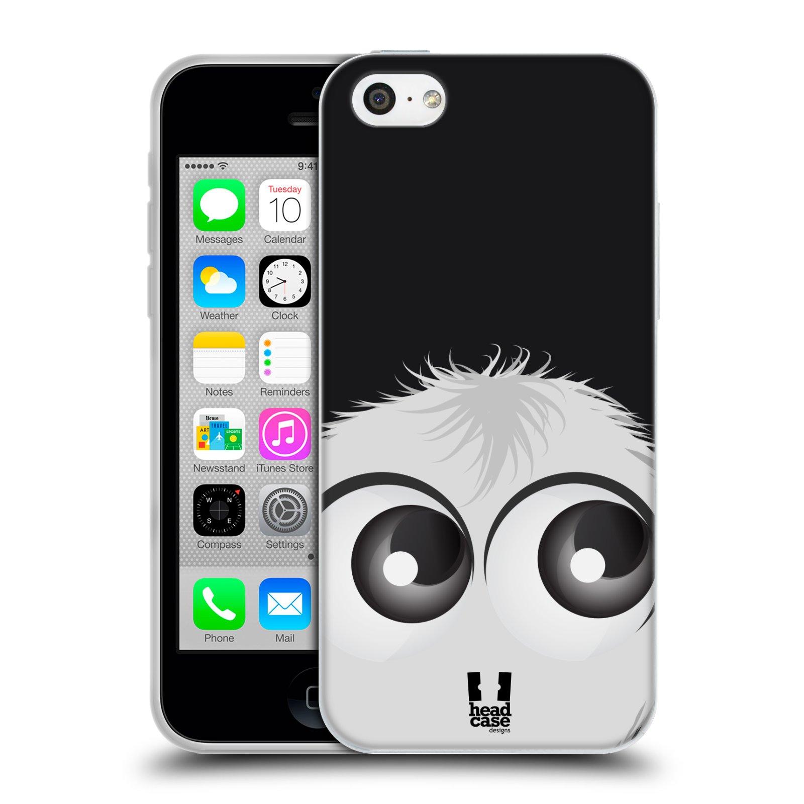 HEAD CASE silikonový obal na mobil Apple Iphone 5C vzor Barevný chlupatý smajlík BÍLÁ černé pozadí