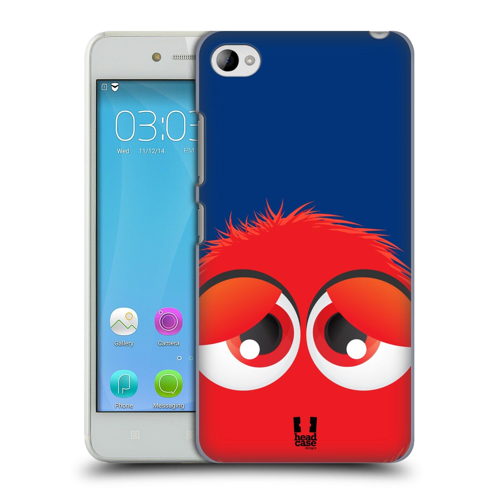 HEAD CASE pevný plastový obal na mobil LENOVO S90 vzor Barevný chlupatý smajlík ČERVENÁ modré pozadí