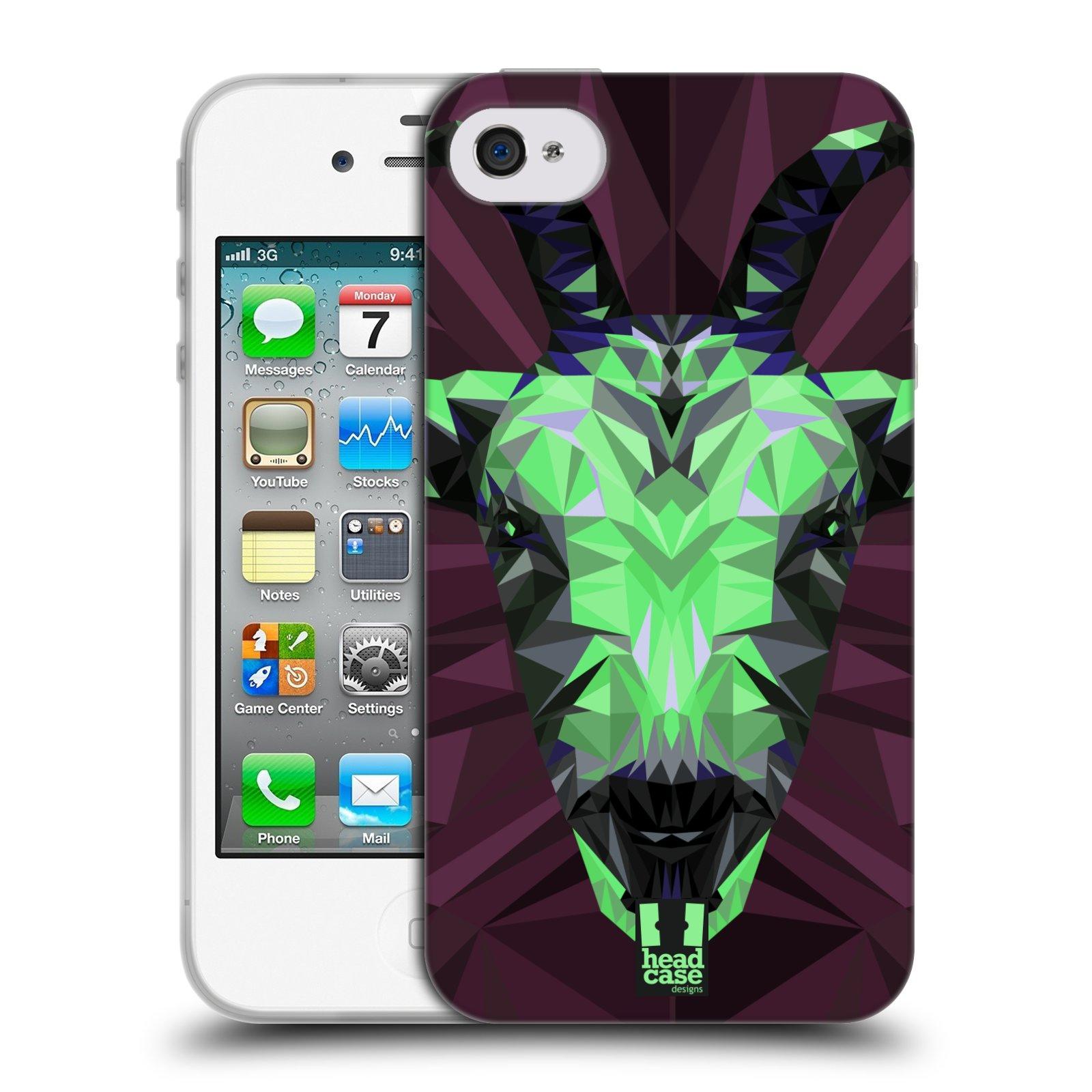 HEAD CASE silikonový obal na mobil Apple Iphone 4/4S vzor Geometrická zvířata 2 kozel