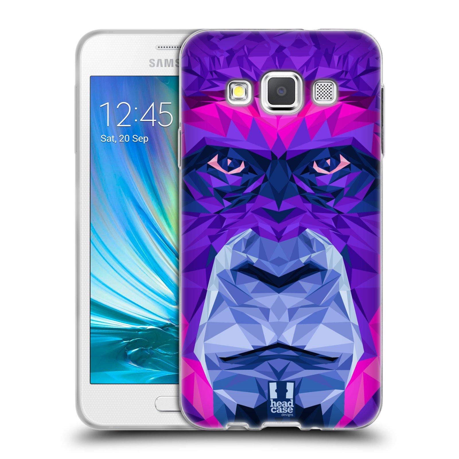 HEAD CASE silikonový obal na mobil Samsung Galaxy A3 vzor Geometrická zvířata 2 Orangutan