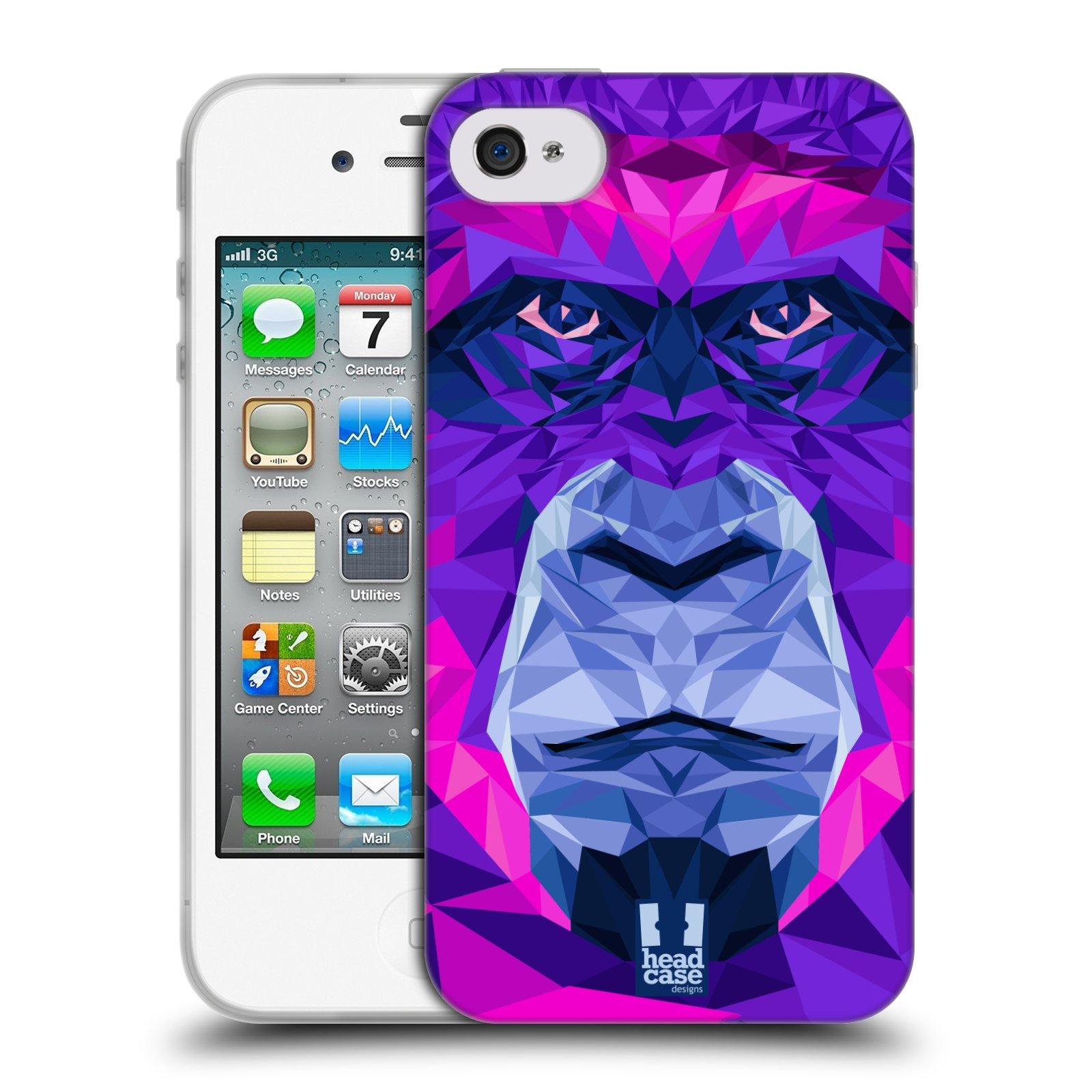 HEAD CASE silikonový obal na mobil Apple Iphone 4/4S vzor Geometrická zvířata 2 Orangutan