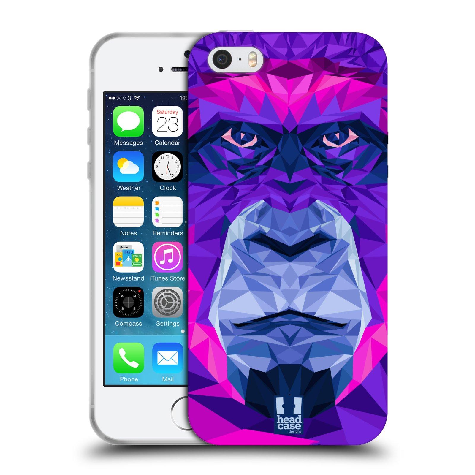 HEAD CASE silikonový obal na mobil Apple Iphone 5/5S vzor Geometrická zvířata 2 Orangutan