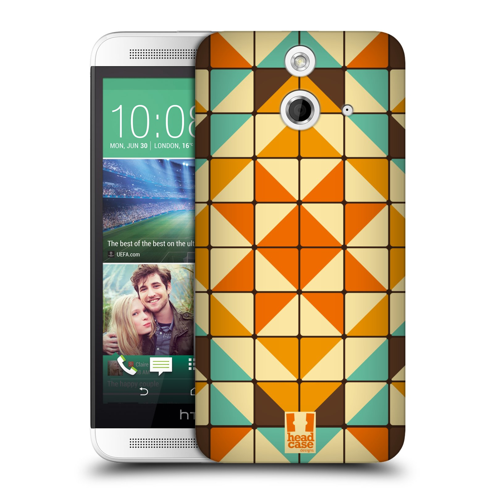 HEAD CASE DESIGNS GEOMETRIC BLOCKS HARD BACK CASE FOR HTC ONE E8 LTE