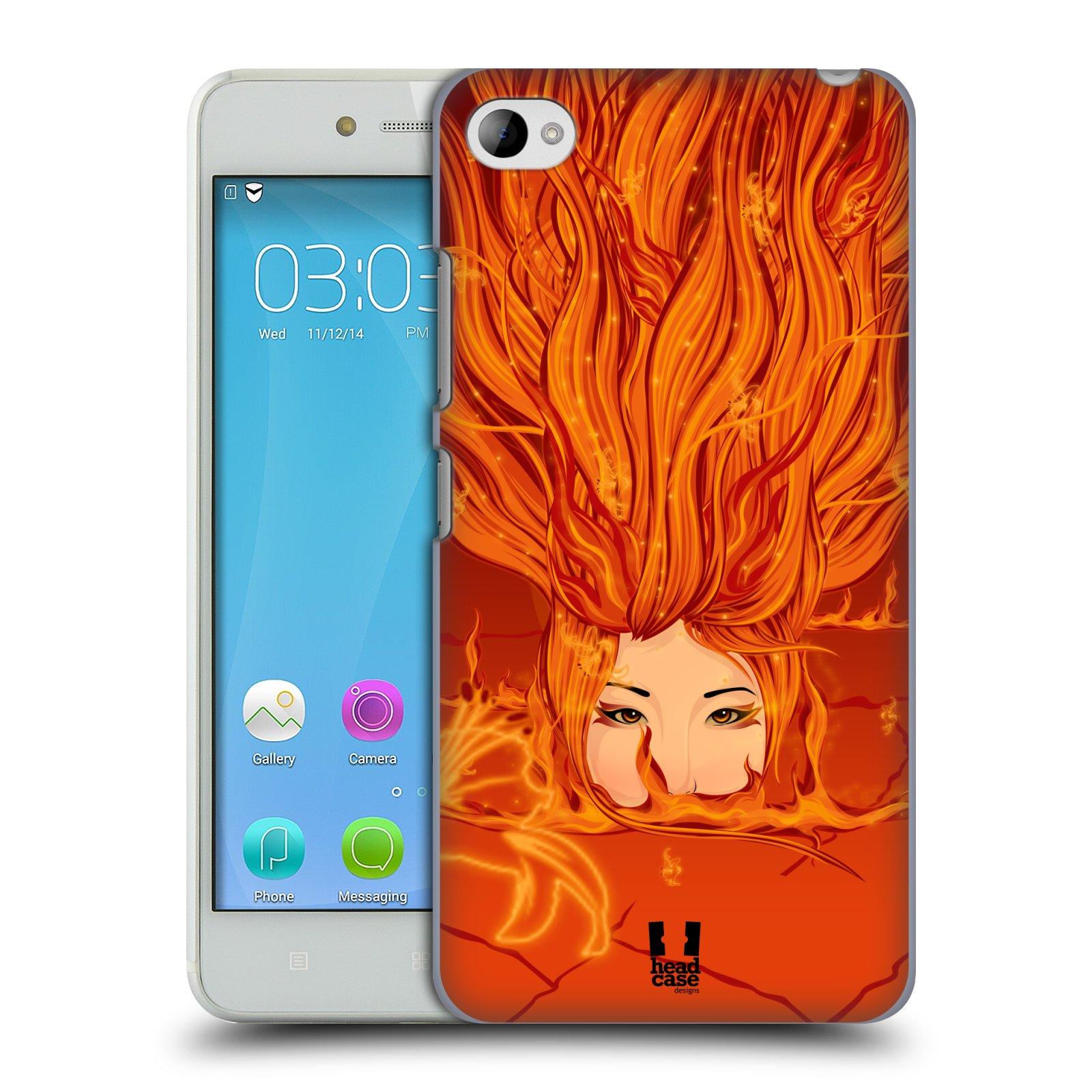 HEAD CASE pevný plastový obal na mobil LENOVO S90 vzor Žena element OHEŇ oranžová