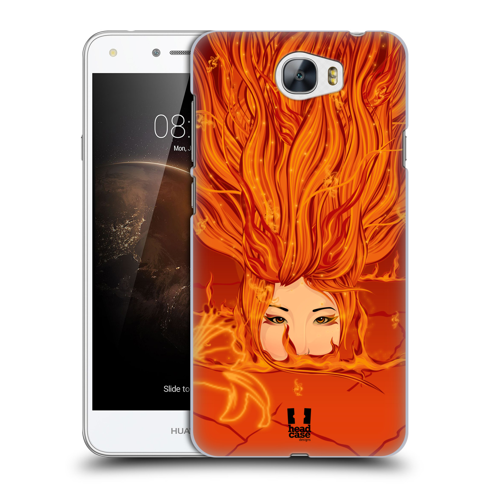 HEAD CASE plastový obal na mobil Huawei Y6 II Compact vzor Žena element OHEŇ oranžová
