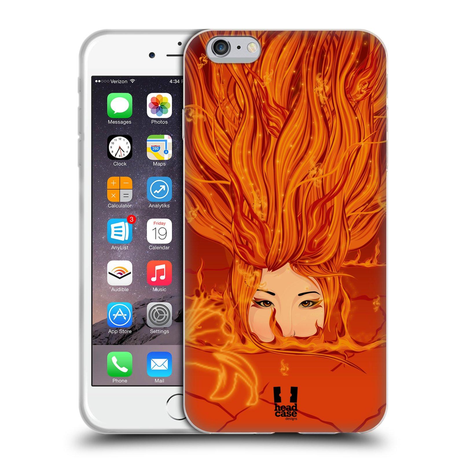 HEAD CASE silikonový obal na mobil Apple Iphone 6 PLUS/ 6S PLUS vzor Žena element OHEŇ oranžová