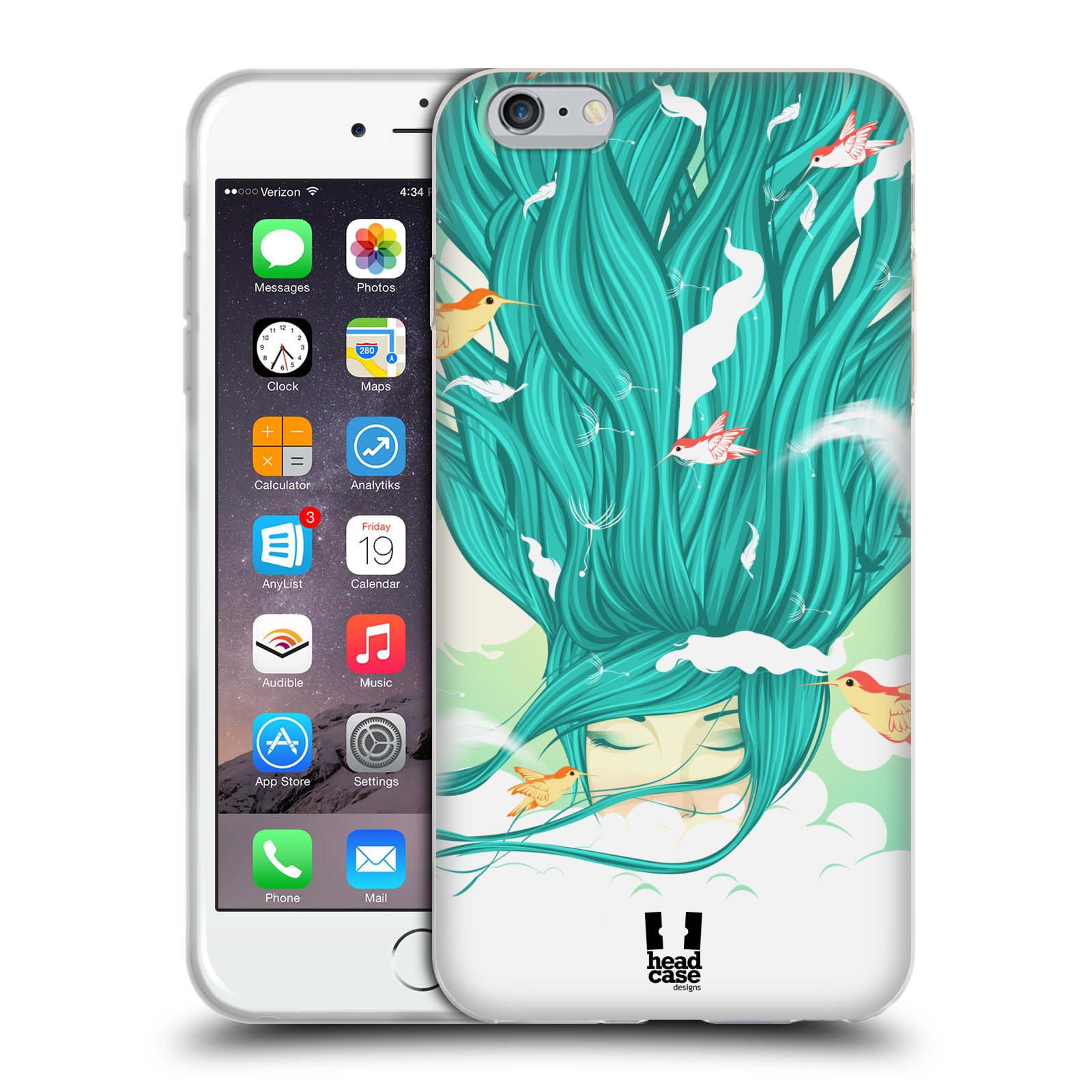 HEAD CASE silikonový obal na mobil Apple Iphone 6 PLUS/ 6S PLUS vzor Žena element VÍTR modrá