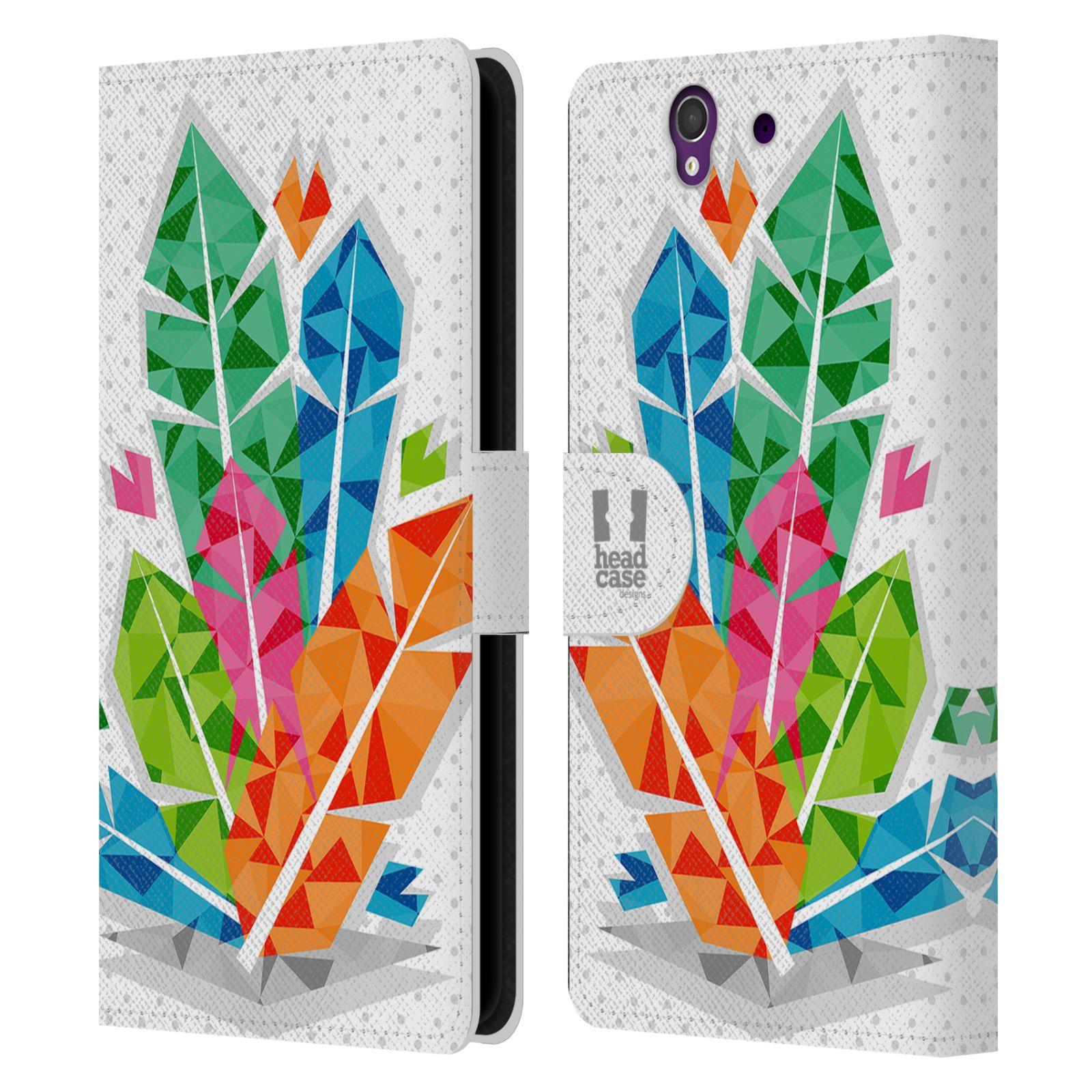 HEAD CASE Flipové pouzdro pro mobil SONY XPERIA Z (C6603) geometrická barevná pírka indián