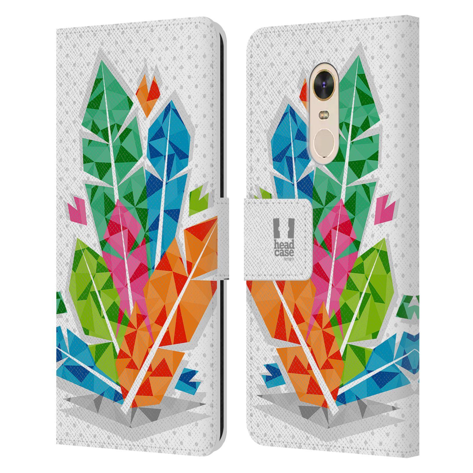 HEAD CASE Flipové pouzdro pro mobil Xiaomi Redmi Note 5 geometrická barevná pírka indián