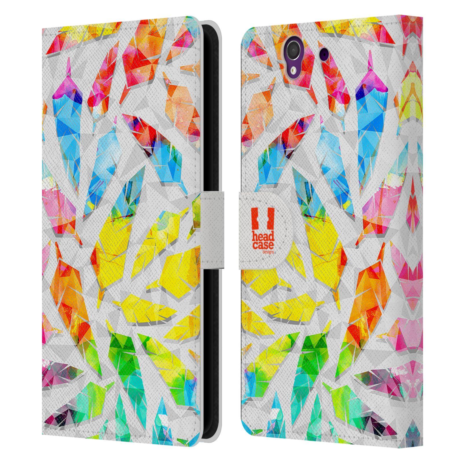 HEAD CASE Flipové pouzdro pro mobil SONY XPERIA Z (C6603) geometrická barevná pírka vodní barva