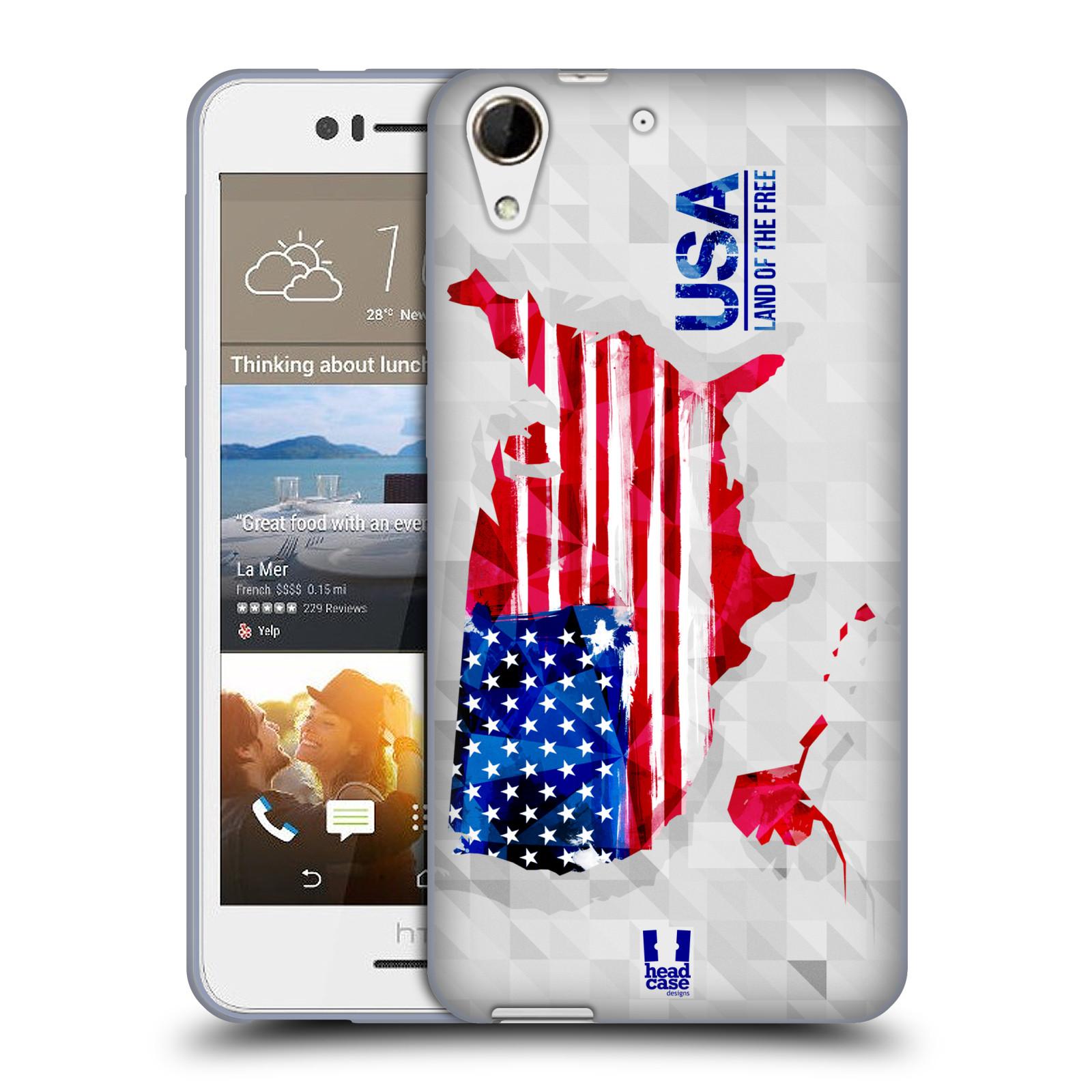 Silikonové pouzdro na mobil HTC Desire 728G Dual SIM HEAD CASE GEOMAPA USA (Silikonový kryt či obal na mobilní telefon HTC Desire 728 G Dual SIM)