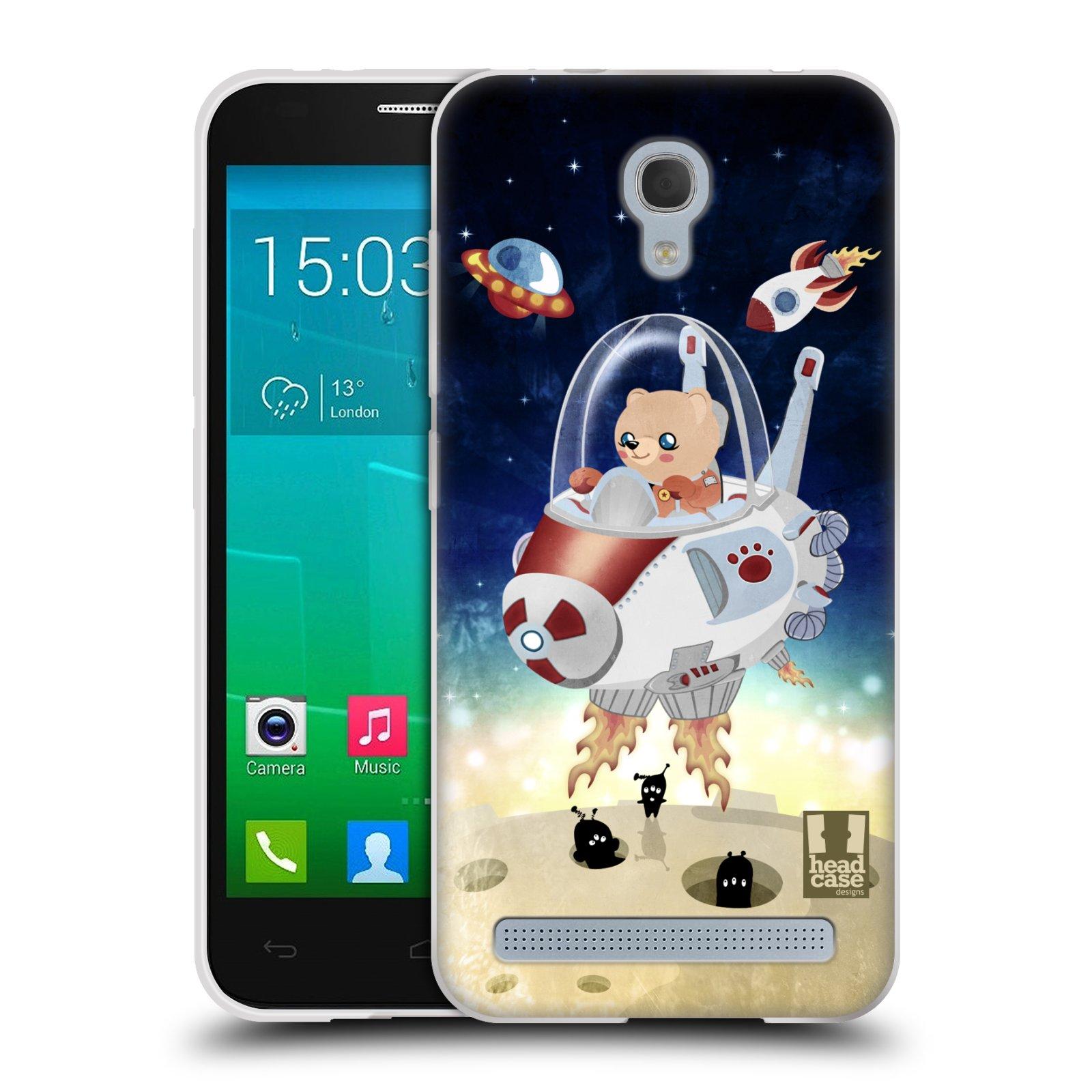 HEAD CASE silikonový obal na mobil Alcatel Idol 2 MINI S 6036Y vzor Zvířecí astronauti medvídek