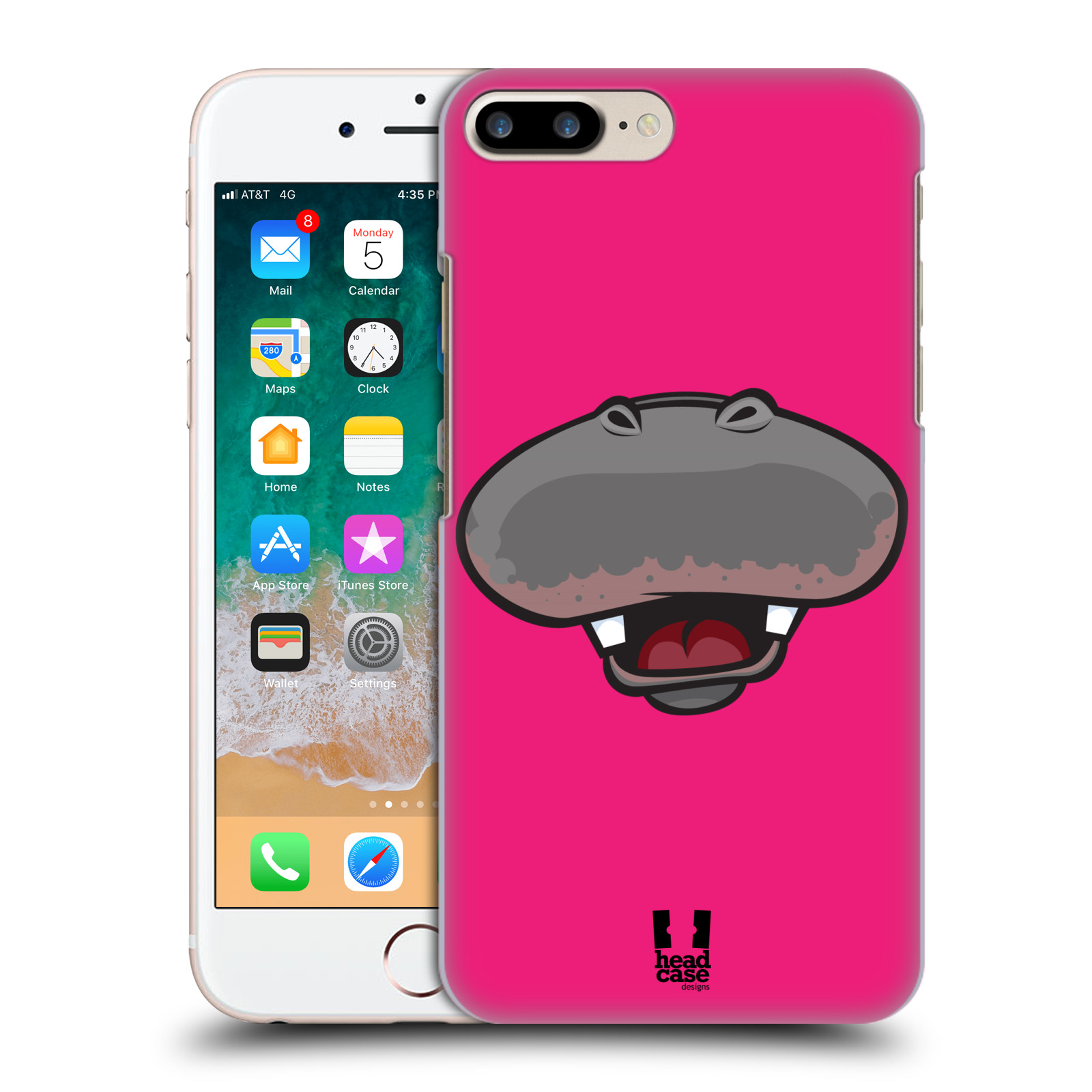 HEAD CASE plastový obal na mobil Apple Iphone 7 PLUS vzor Zvířecí úsměv hroch růžová