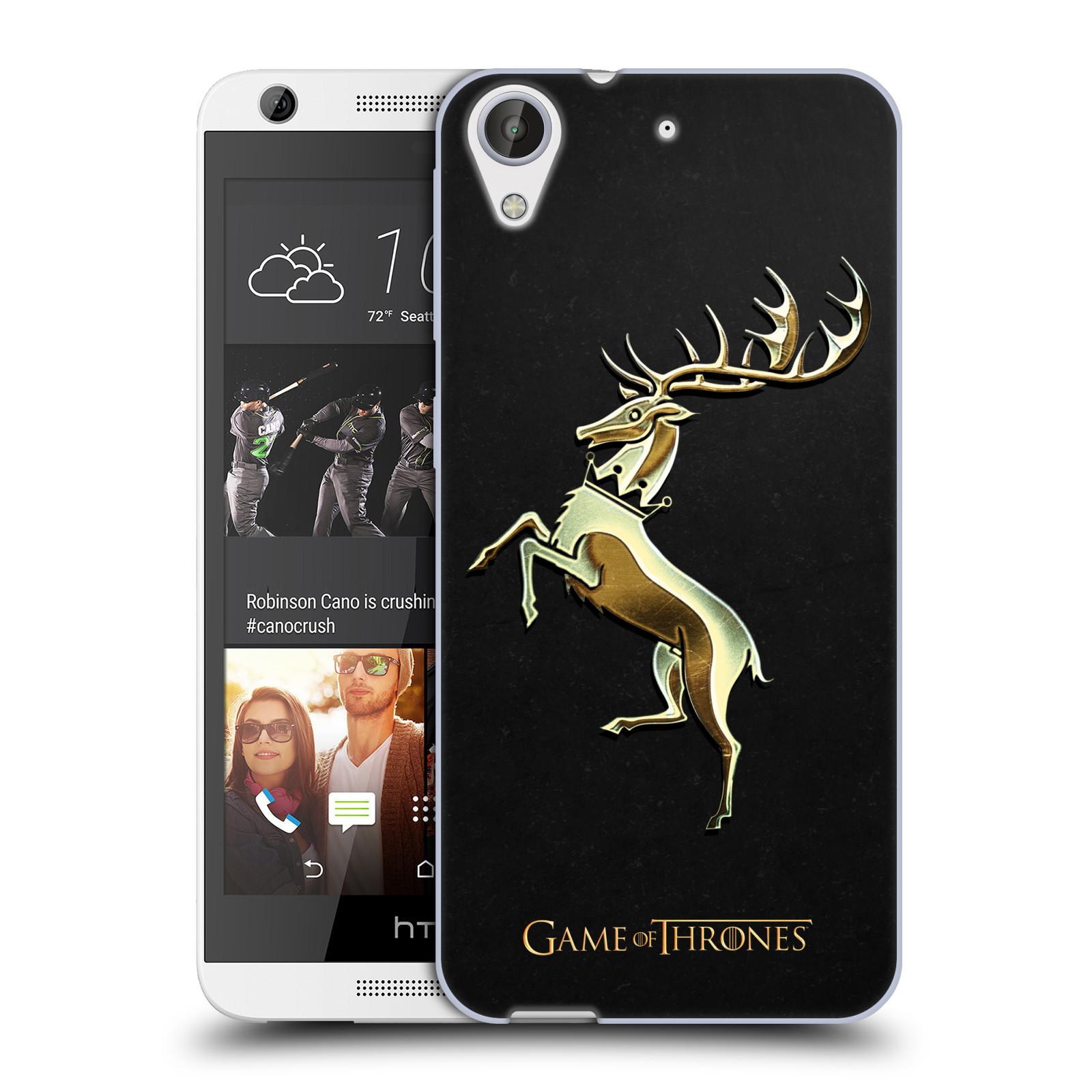 HEAD CASE silikonový obal na mobil HTC Desire 626 oficiální kryt Hra o trůny Rod Baratheonů z Bouřlivého konce zlatý erb