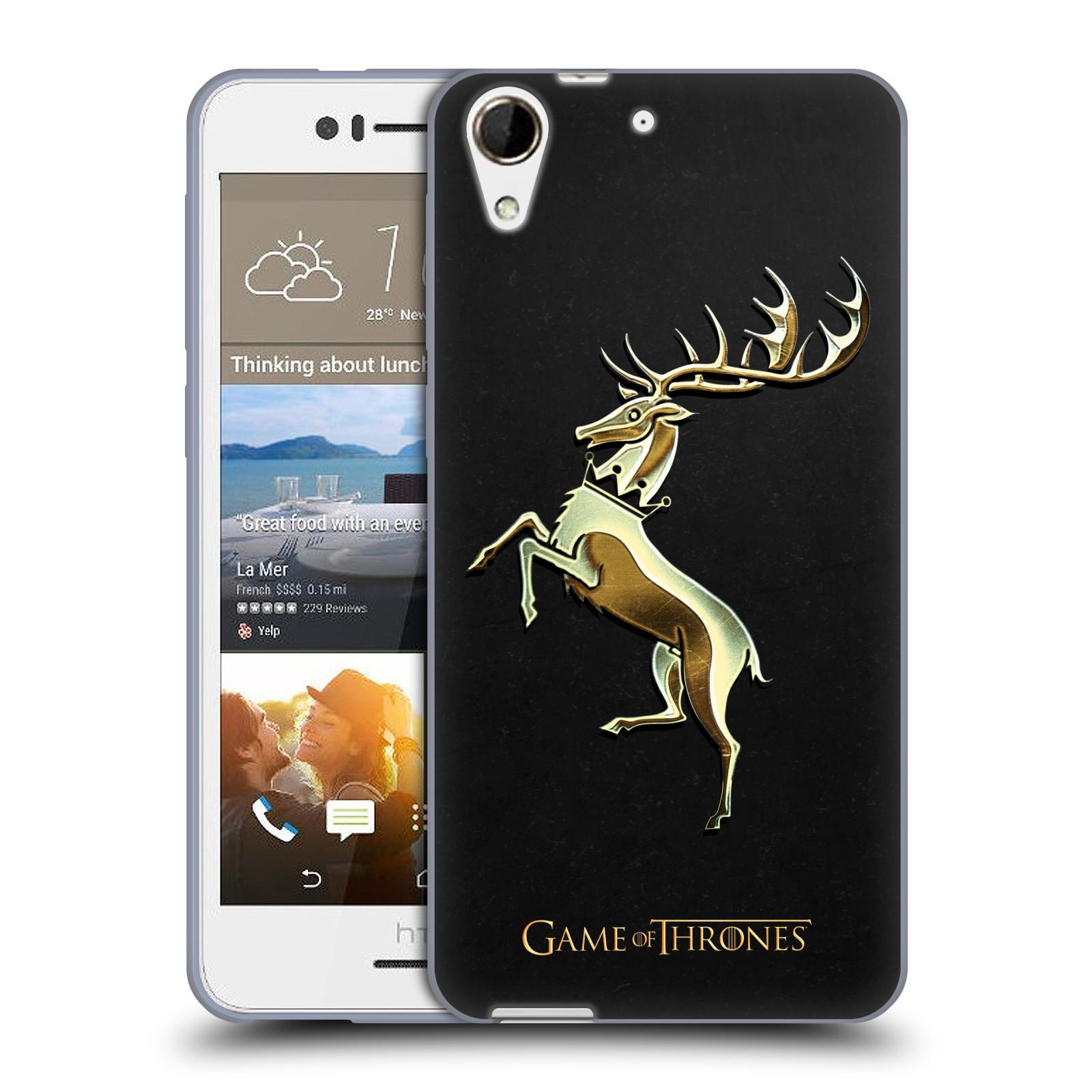 HEAD CASE silikonový obal na mobil HTC Desire 728 oficiální kryt Hra o trůny Rod Baratheonů z Bouřlivého konce zlatý erb