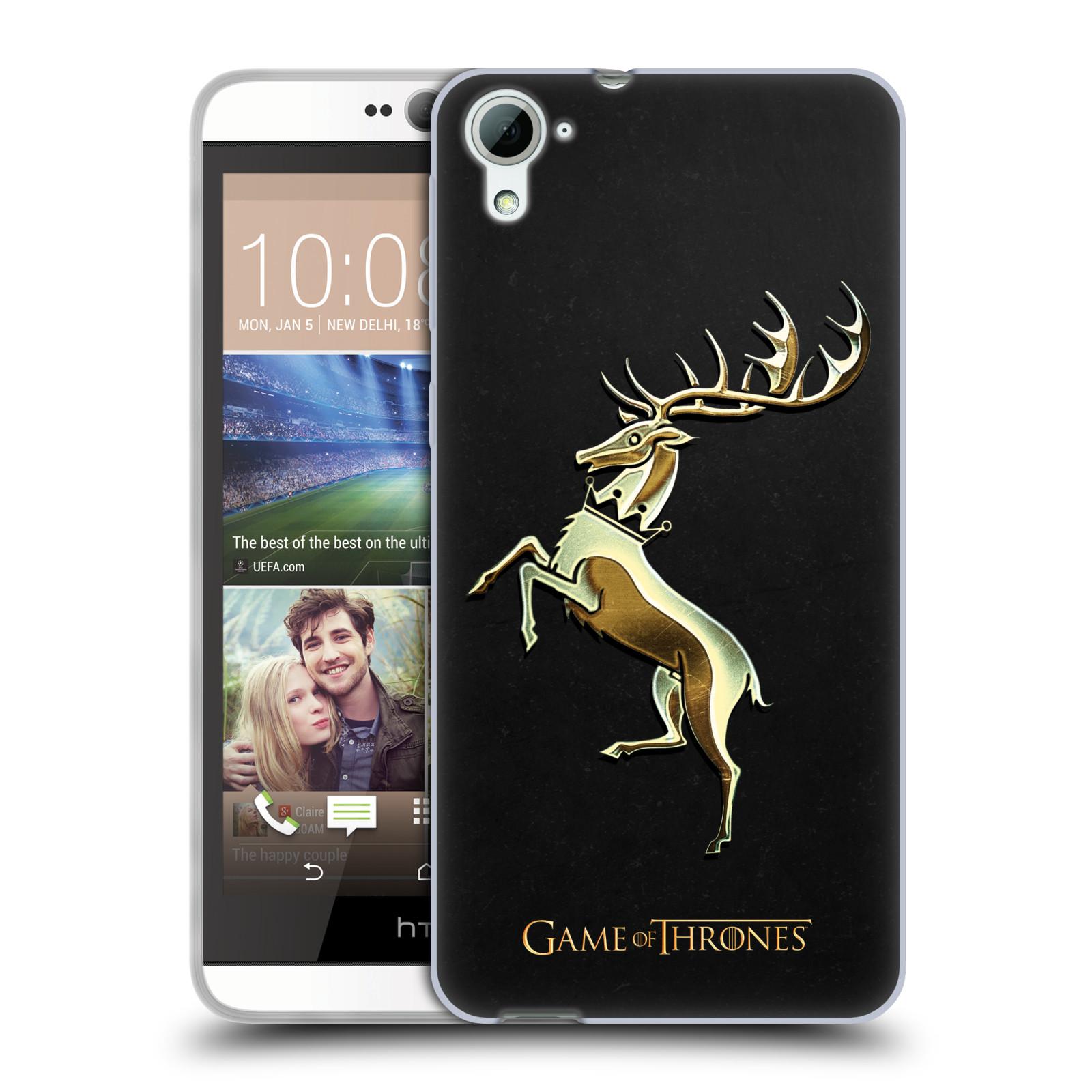 HEAD CASE silikonový obal na mobil HTC Desire 826 oficiální kryt Hra o trůny Rod Baratheonů z Bouřlivého konce zlatý erb