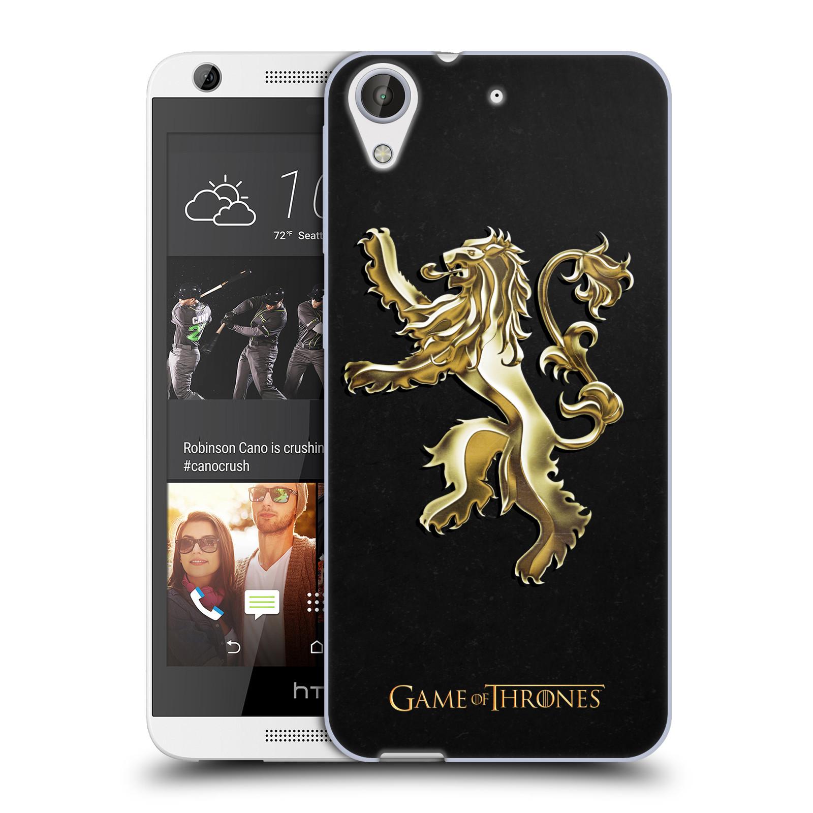 HEAD CASE silikonový obal na mobil HTC Desire 626 oficiální kryt Hra o trůny Rod Lannisterů z Casterlyovi skály zlatá barva