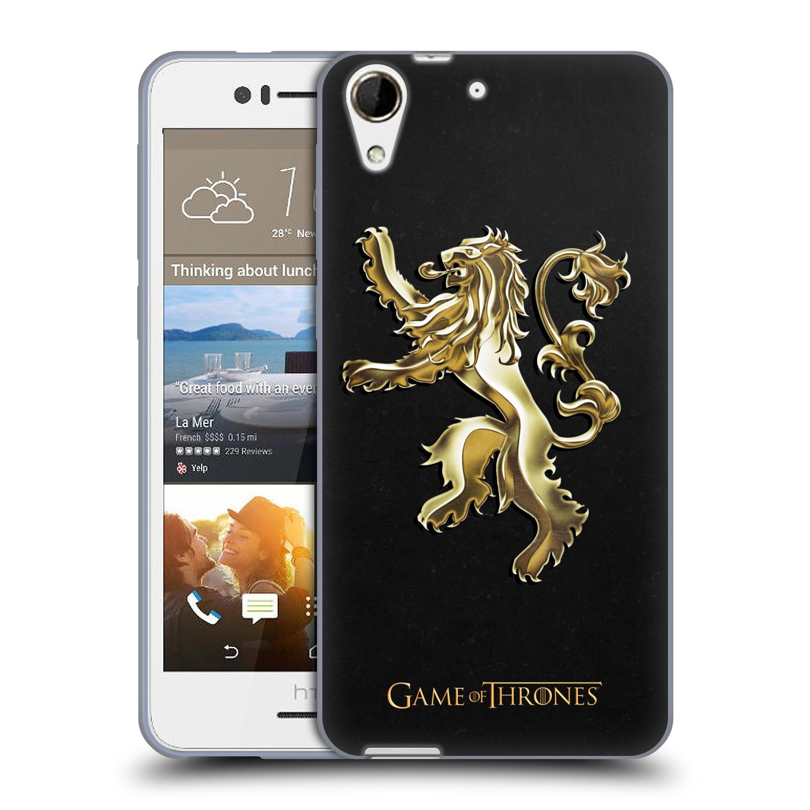 HEAD CASE silikonový obal na mobil HTC Desire 728 oficiální kryt Hra o trůny Rod Lannisterů z Casterlyovi skály zlatá barva