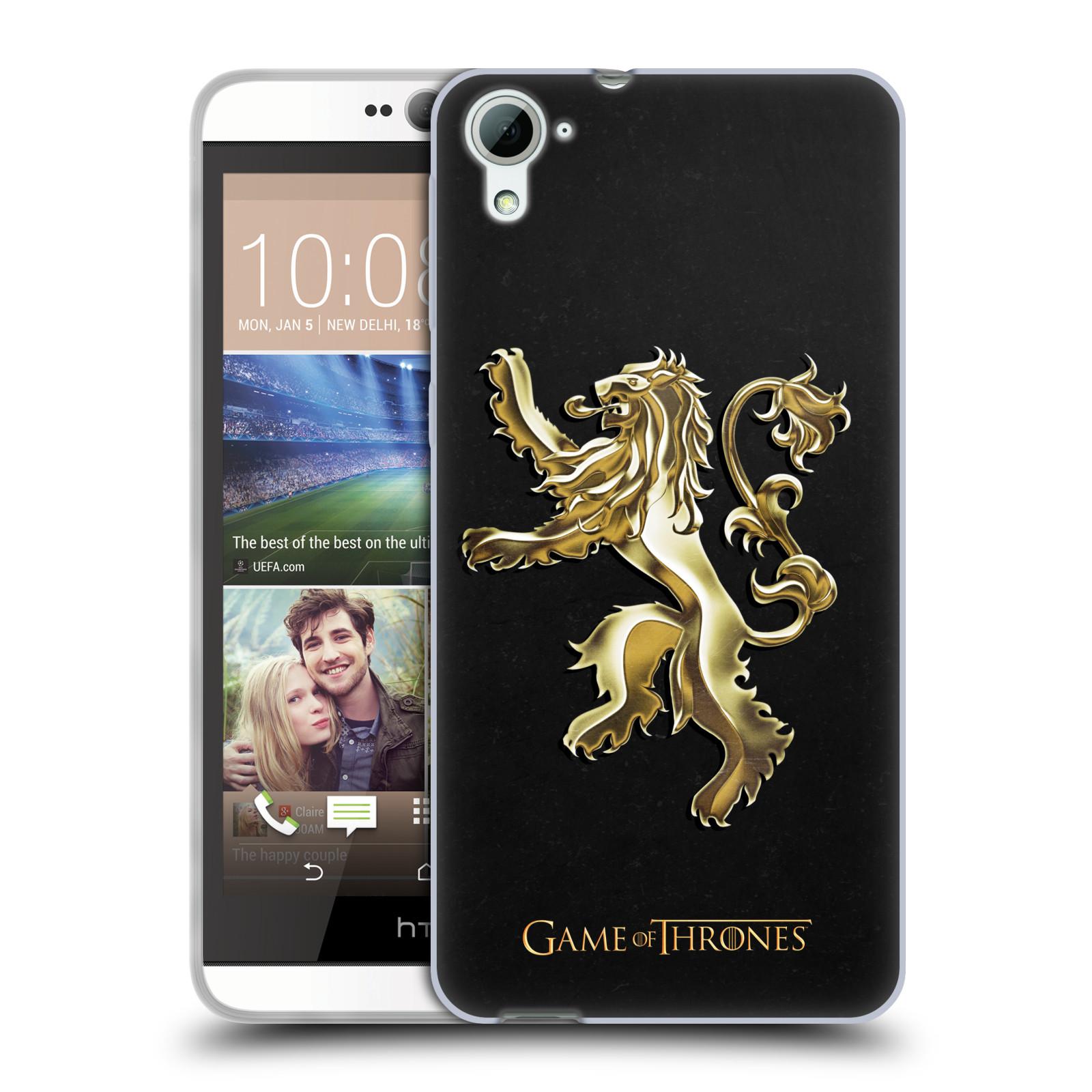 HEAD CASE silikonový obal na mobil HTC Desire 826 oficiální kryt Hra o trůny Rod Lannisterů z Casterlyovi skály zlatá barva