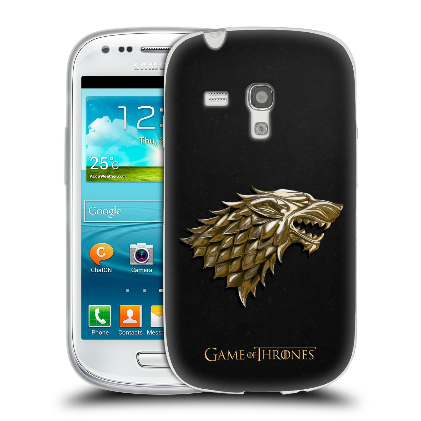 HEAD CASE silikonový obal na mobil Samsung Galaxy S3 MINI oficiální kryt Hra o trůny Rod Starků ze Zimohradu zlatá barva