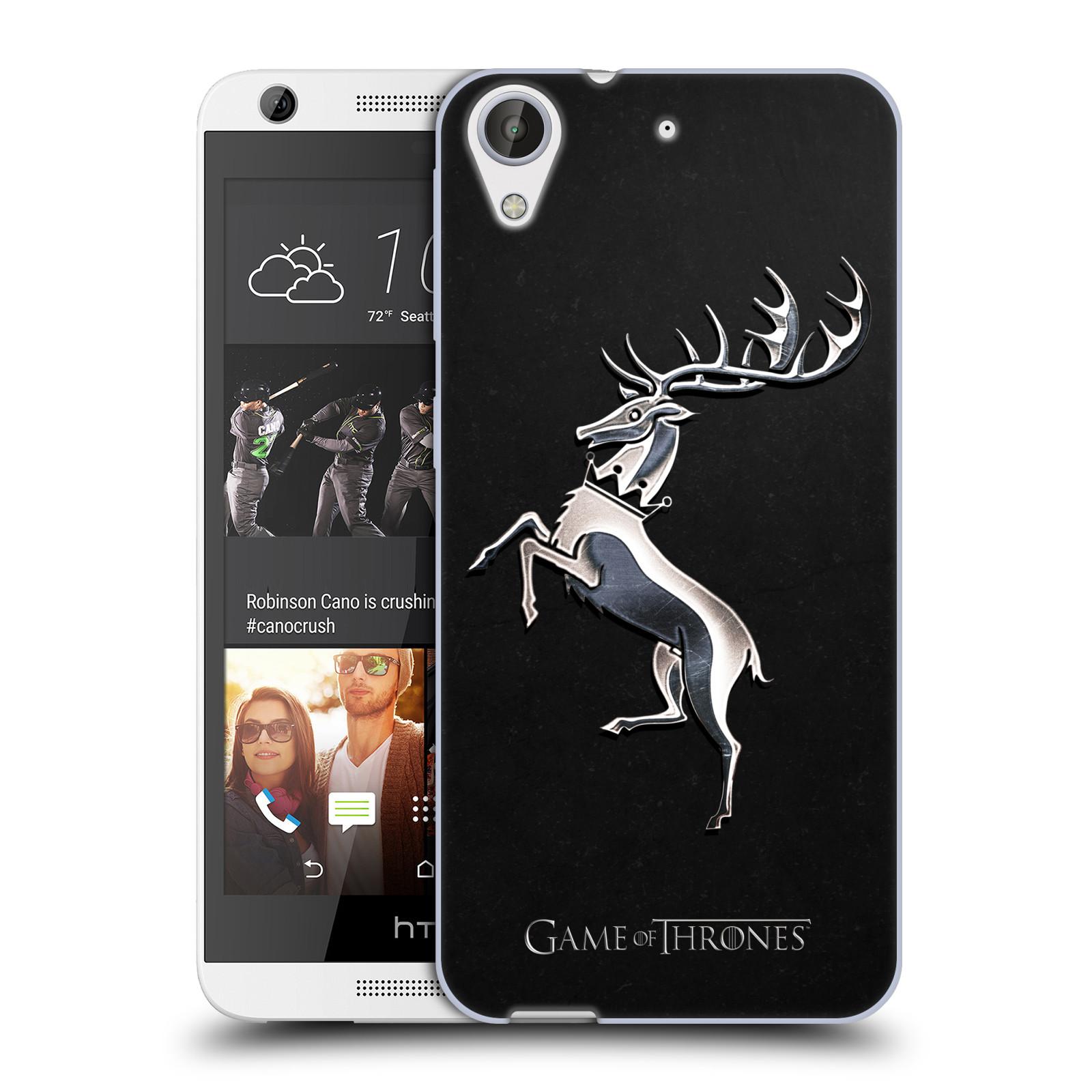HEAD CASE silikonový obal na mobil HTC Desire 626 oficiální kryt Hra o trůny Rod Baratheonů z Bouřlivého konce stříbrný erb