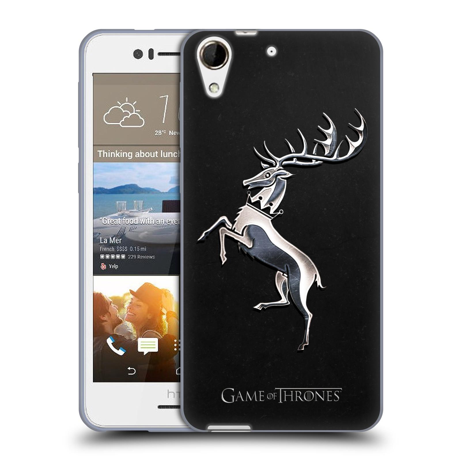 HEAD CASE silikonový obal na mobil HTC Desire 728 oficiální kryt Hra o trůny Rod Baratheonů z Bouřlivého konce stříbrný erb