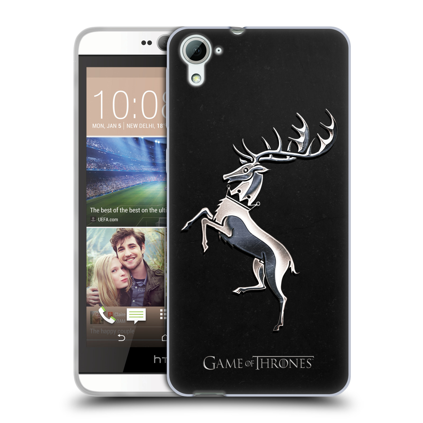 HEAD CASE silikonový obal na mobil HTC Desire 826 oficiální kryt Hra o trůny Rod Baratheonů z Bouřlivého konce stříbrný erb