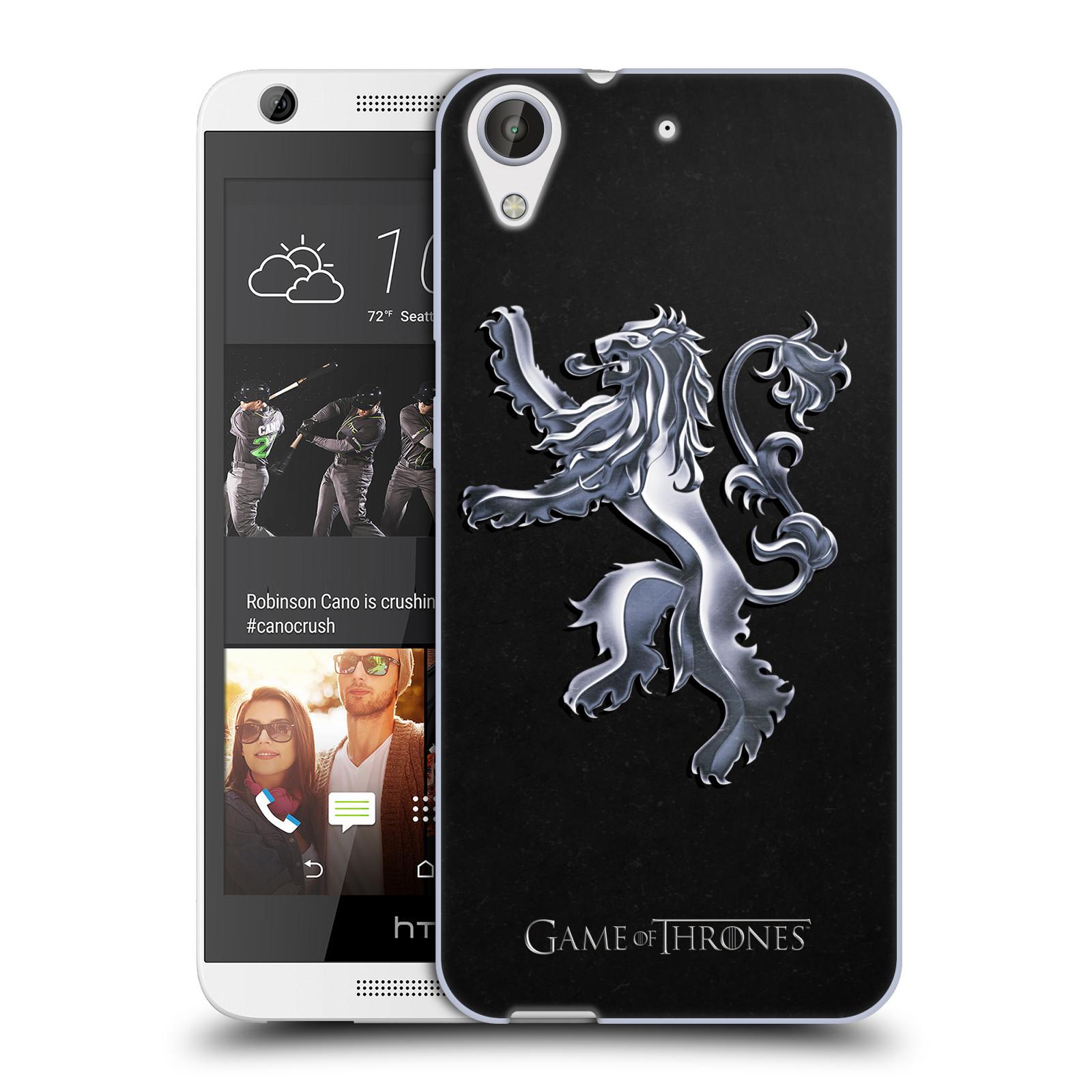 HEAD CASE silikonový obal na mobil HTC Desire 626 oficiální kryt Hra o trůny Rod Lannisterů z Casterlyovi skály stříbrná barva