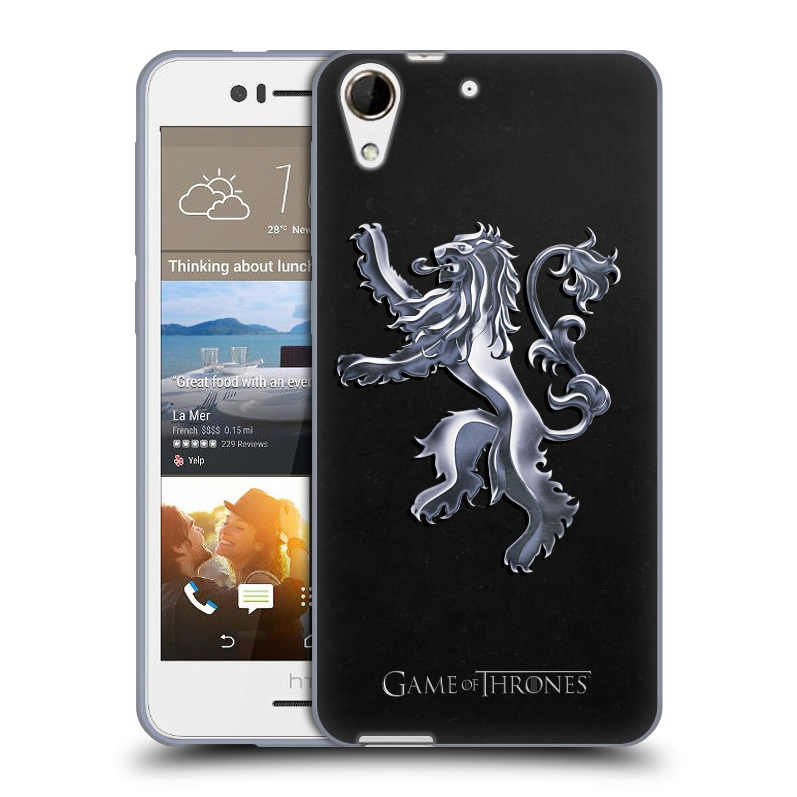 HEAD CASE silikonový obal na mobil HTC Desire 728 oficiální kryt Hra o trůny Rod Lannisterů z Casterlyovi skály stříbrná barva