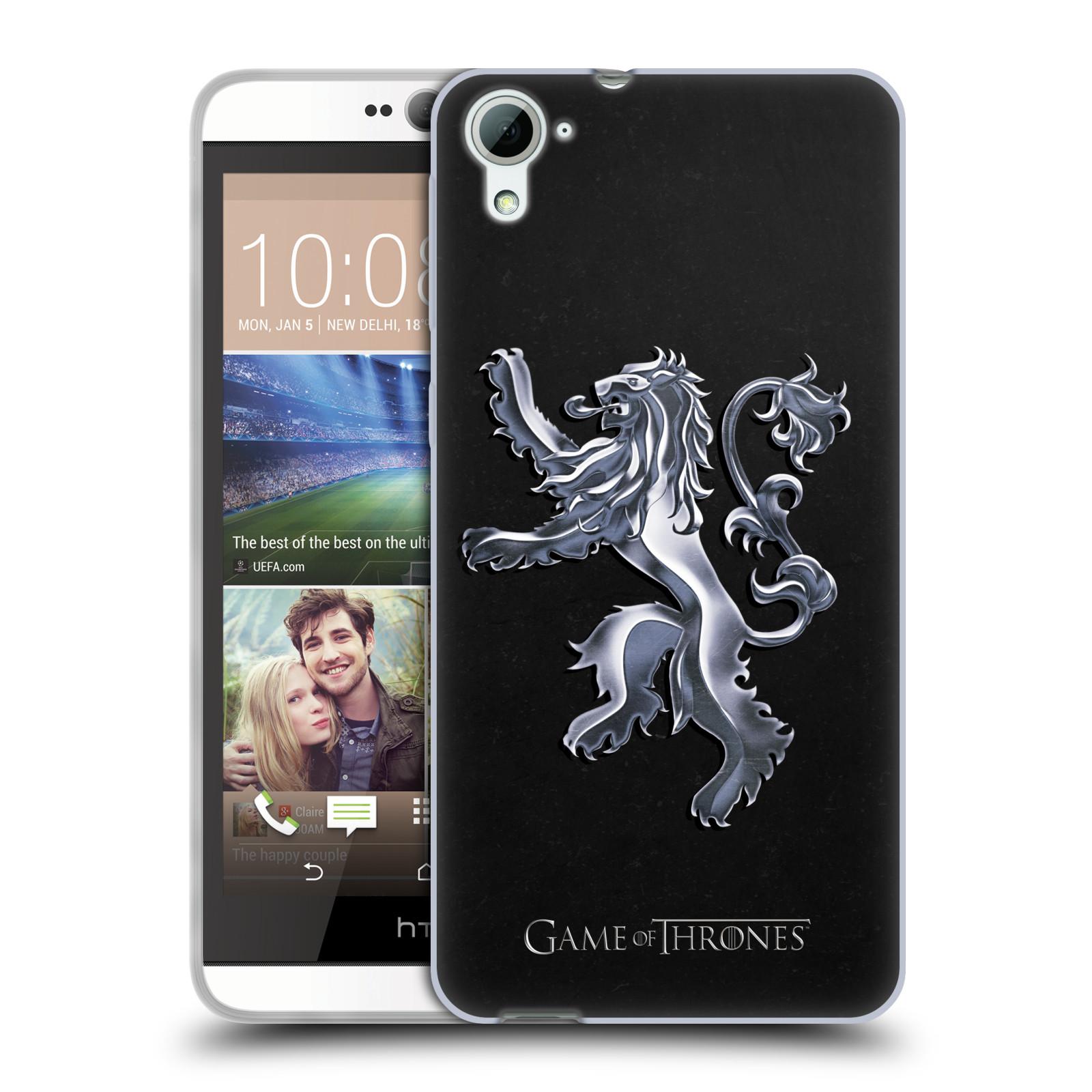HEAD CASE silikonový obal na mobil HTC Desire 826 oficiální kryt Hra o trůny Rod Lannisterů z Casterlyovi skály stříbrná barva