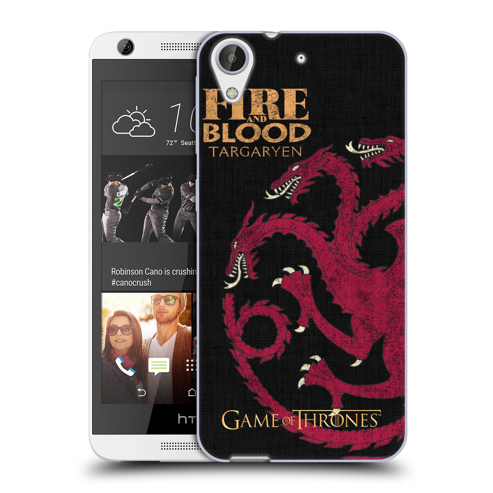 HEAD CASE silikonový obal na mobil HTC Desire 626 oficiální kryt Hra o trůny Rod Targaryenů z Dračího kamene