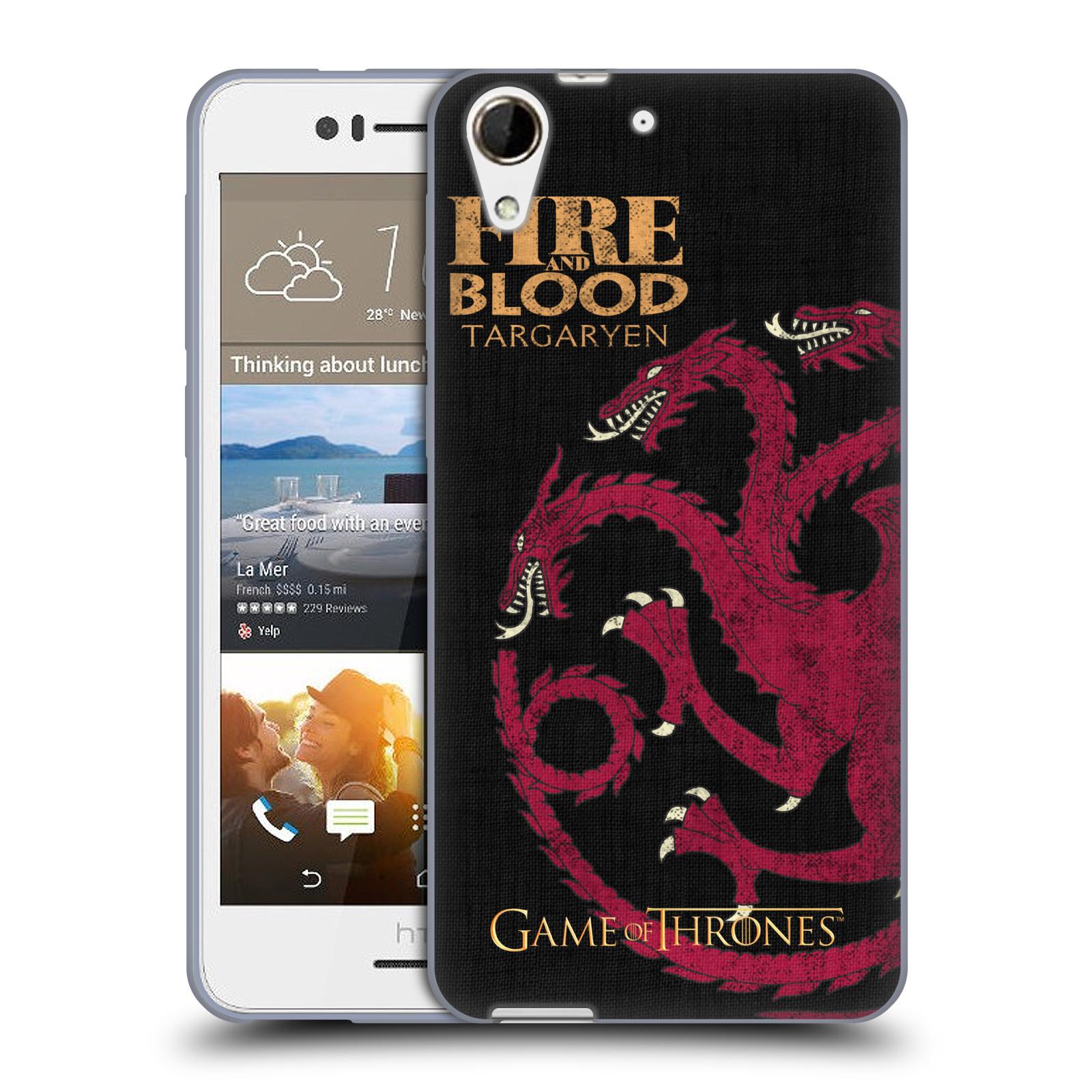 HEAD CASE silikonový obal na mobil HTC Desire 728 oficiální kryt Hra o trůny Rod Targaryenů z Dračího kamene