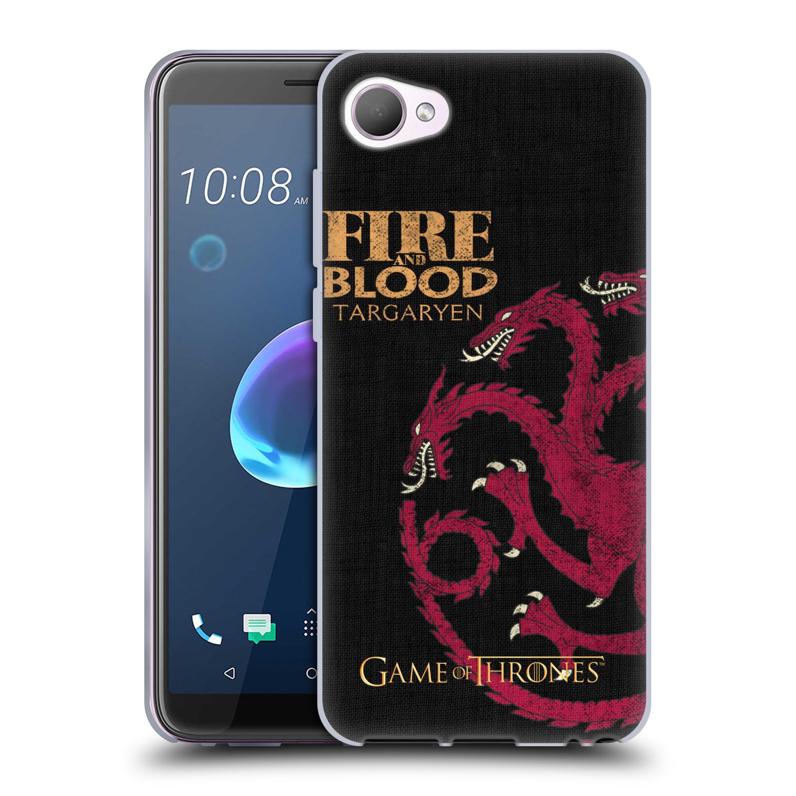 HEAD CASE silikonový obal na mobil HTC Desire 12 / Desire 12 DUAL SIM oficiální kryt Hra o trůny Rod Targaryenů z Dračího kamene