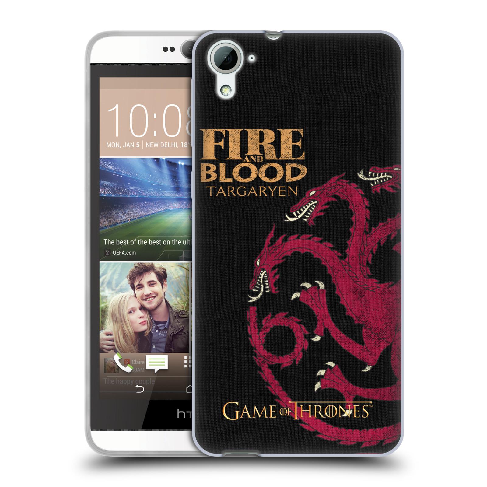 HEAD CASE silikonový obal na mobil HTC Desire 826 oficiální kryt Hra o trůny Rod Targaryenů z Dračího kamene