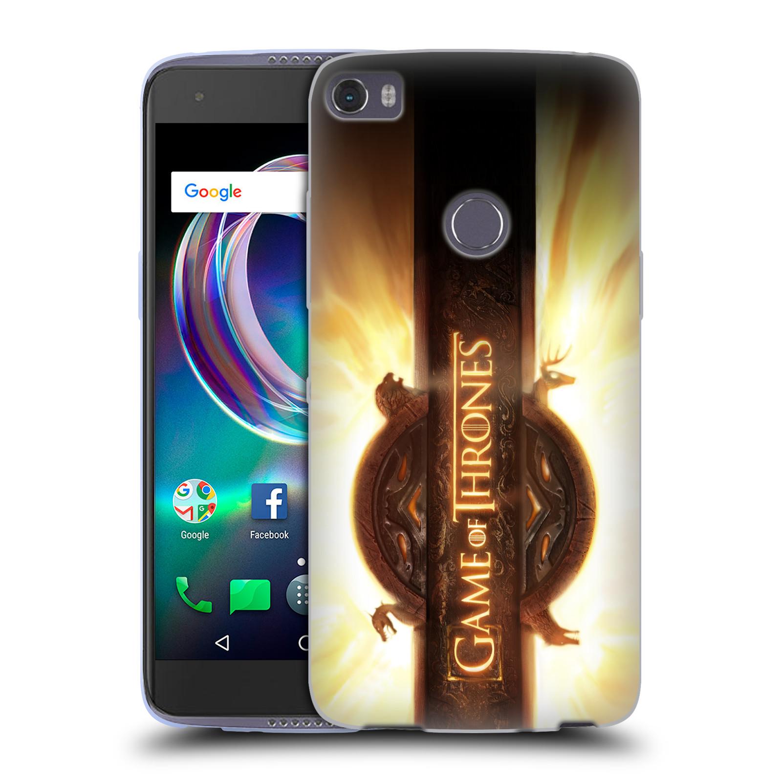 HEAD CASE silikonový obal na mobil ALCATEL IDOL 5S 6060X oficiální kryt Hra o trůny úvodní motiv oheň