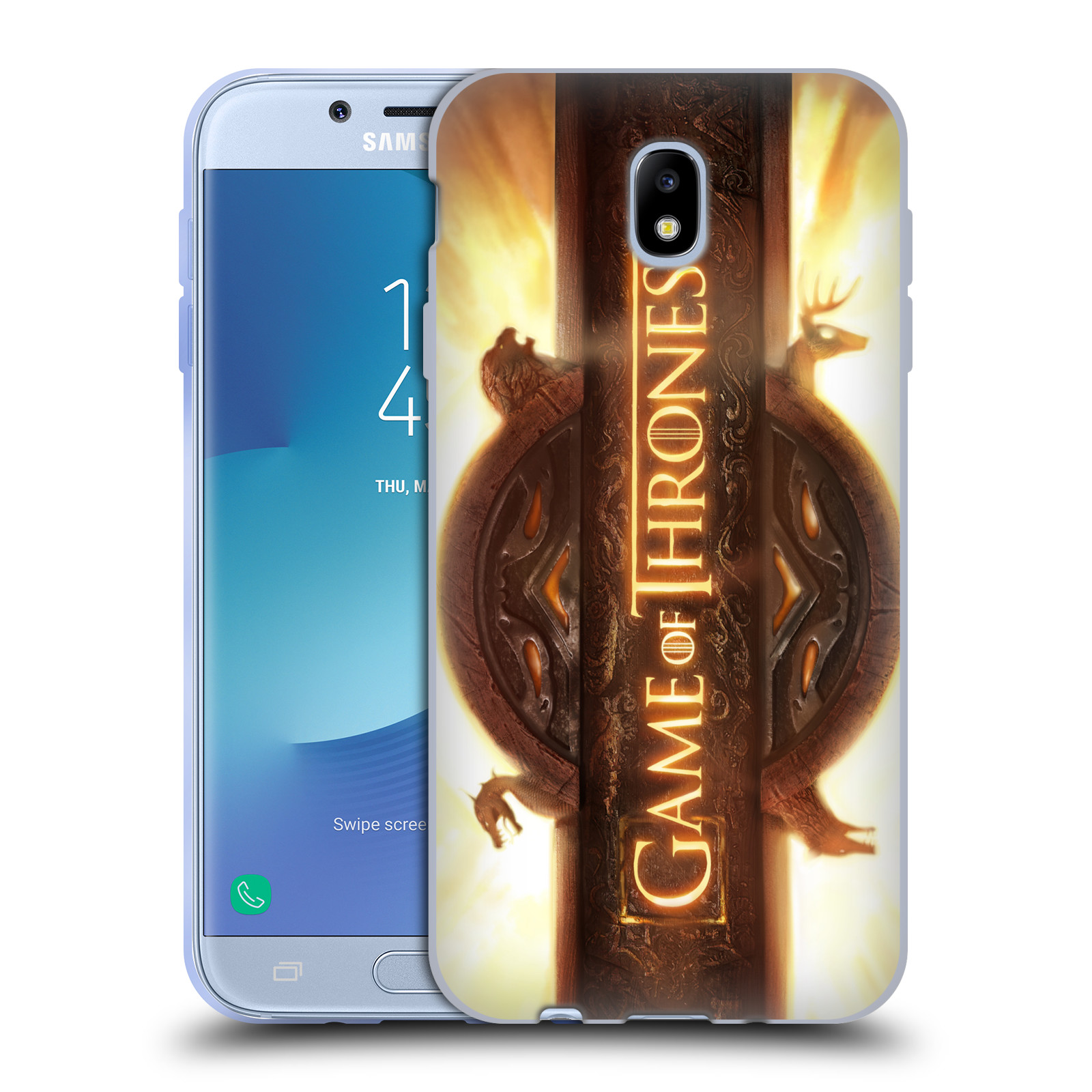 HEAD CASE silikonový obal na mobil Samsung Galaxy J7 2017 oficiální kryt Hra o trůny úvodní motiv oheň