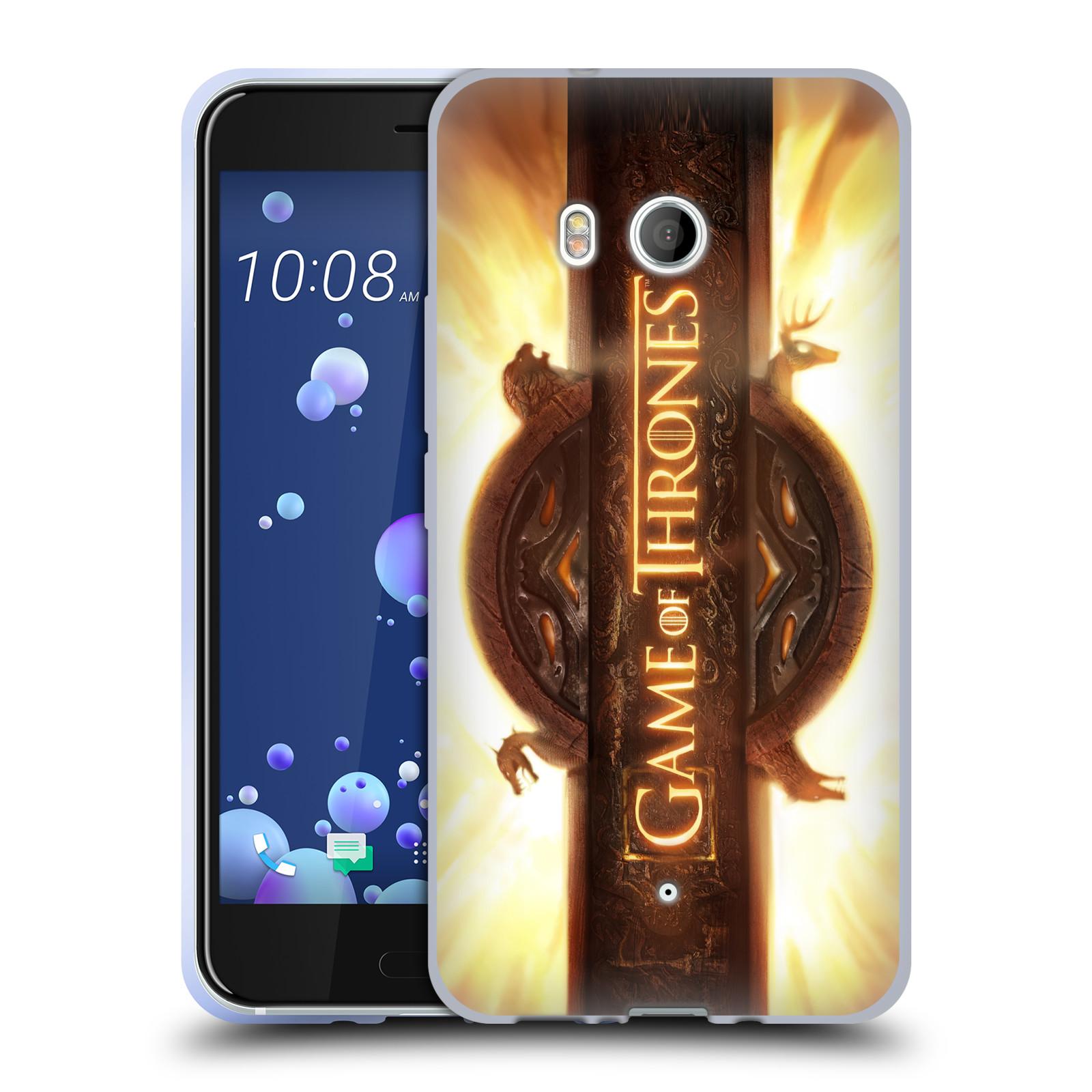 HEAD CASE silikonový obal na mobil HTC U11 oficiální kryt Hra o trůny úvodní motiv oheň
