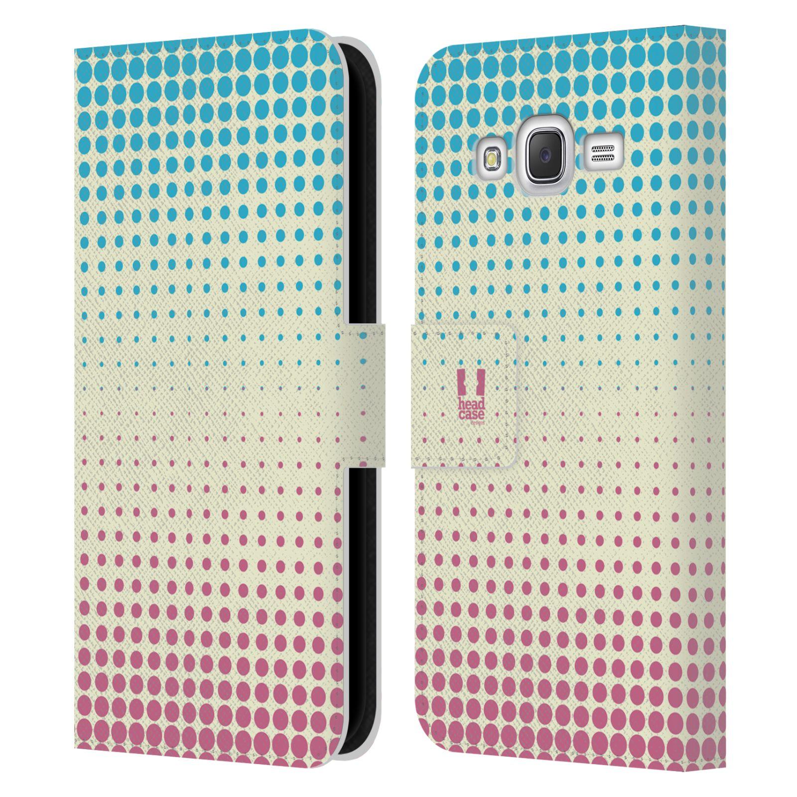 HEAD CASE Flipové pouzdro pro mobil Samsung Galaxy J5 (J500) / J5 DUOS prolínající se tečky modrá a růžová