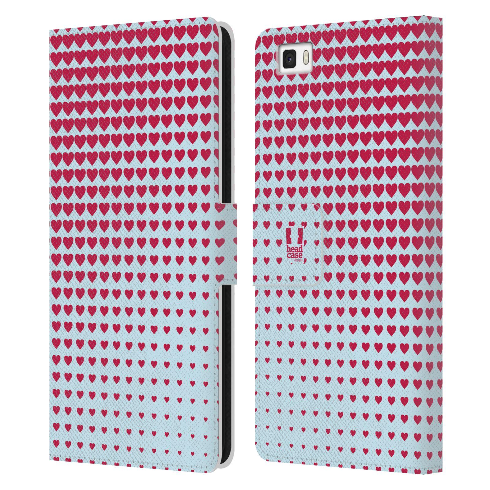 HEAD CASE Flipové pouzdro pro mobil Huawei P8 LITE prolínající se srdíčka modrá a červená