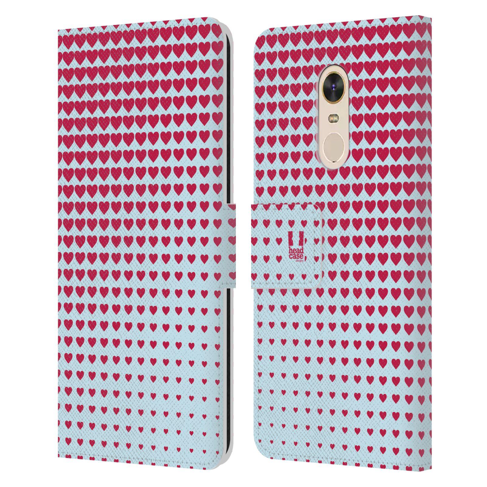 HEAD CASE Flipové pouzdro pro mobil Xiaomi Redmi Note 5 prolínající se srdíčka modrá a červená