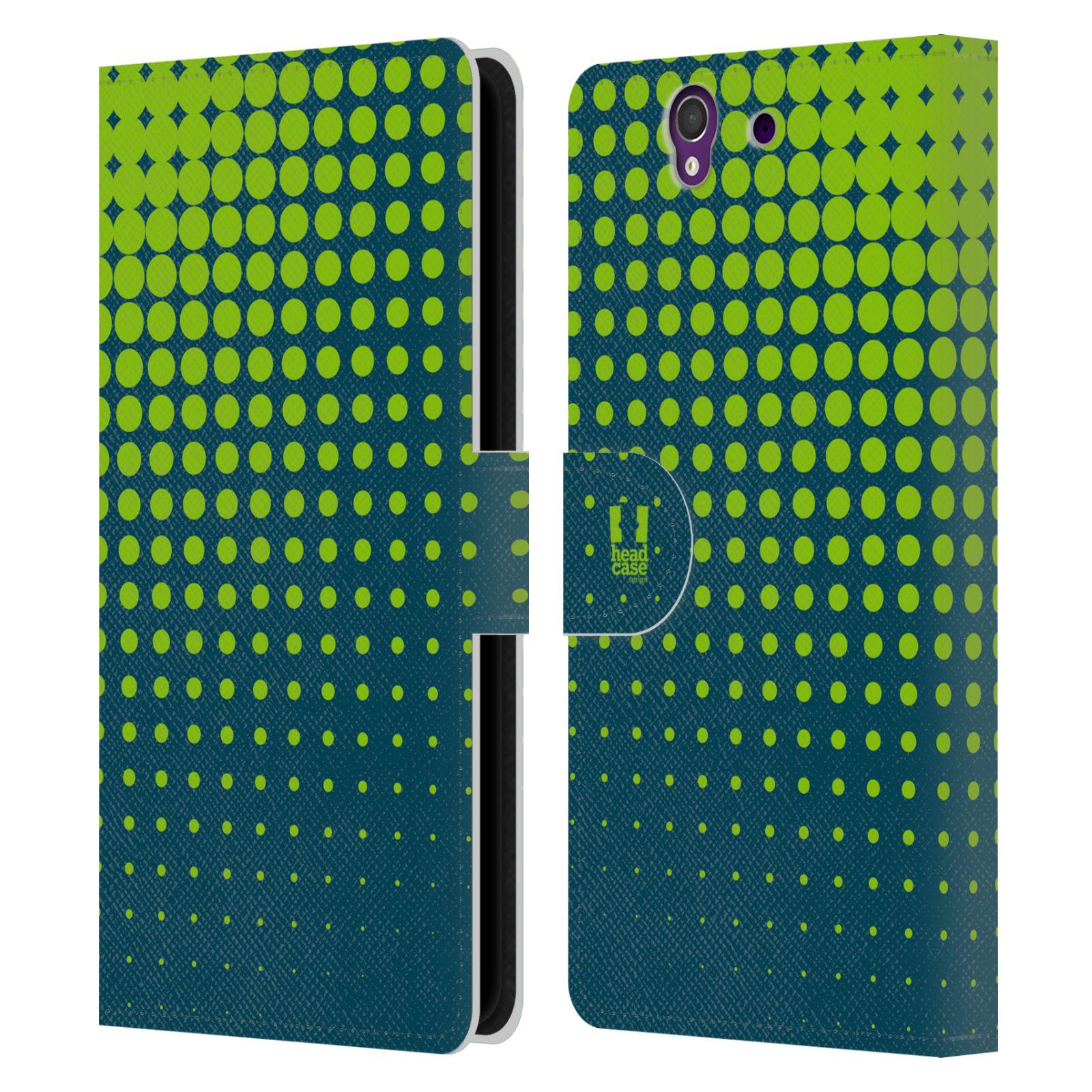 HEAD CASE Flipové pouzdro pro mobil SONY XPERIA Z (C6603) prolínající se tečky limetkově zelená