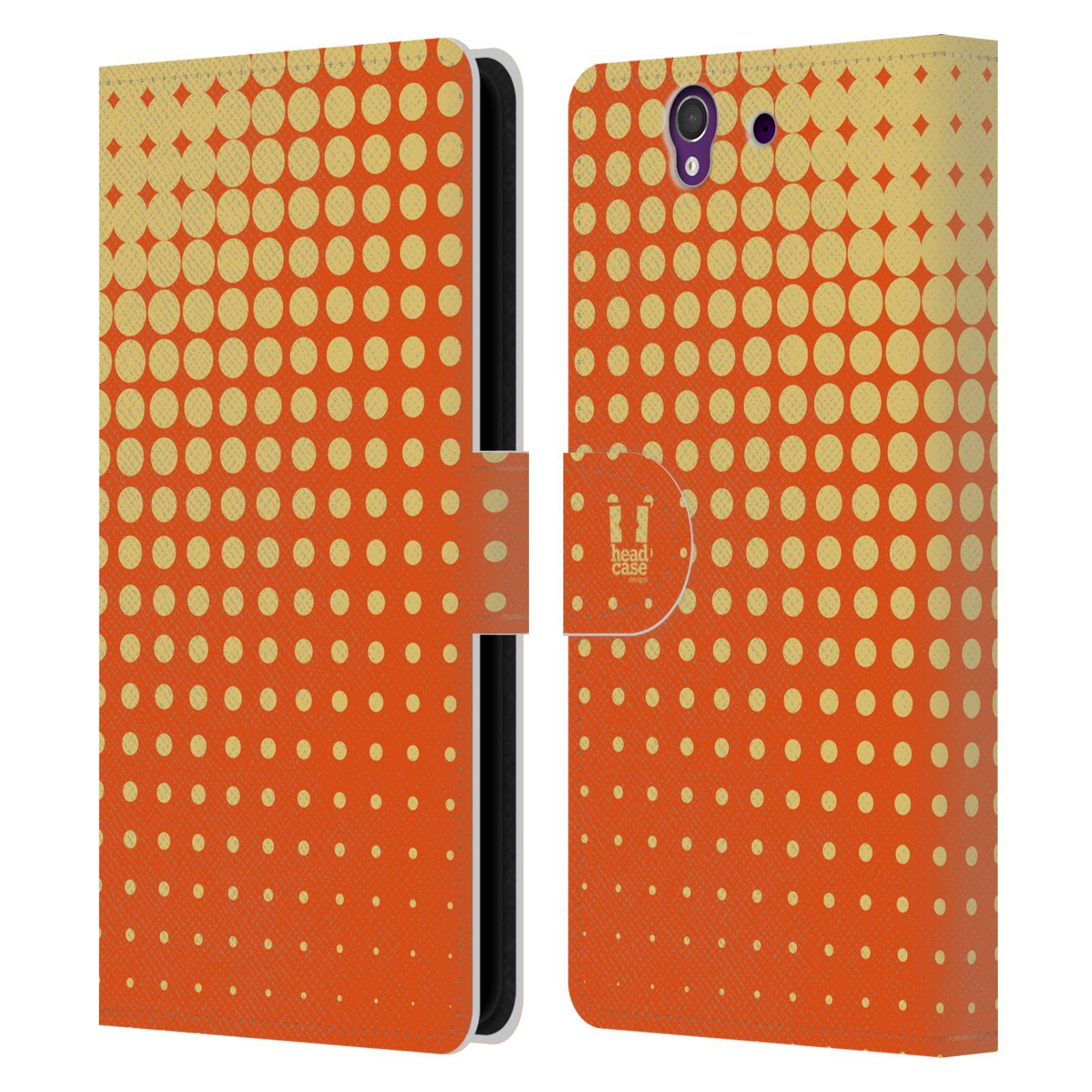 HEAD CASE Flipové pouzdro pro mobil SONY XPERIA Z (C6603) prolínající se tečky oranžová